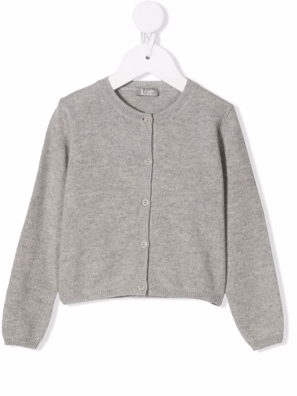 Kids Cardigan In Melange Grey Wool With Buttons