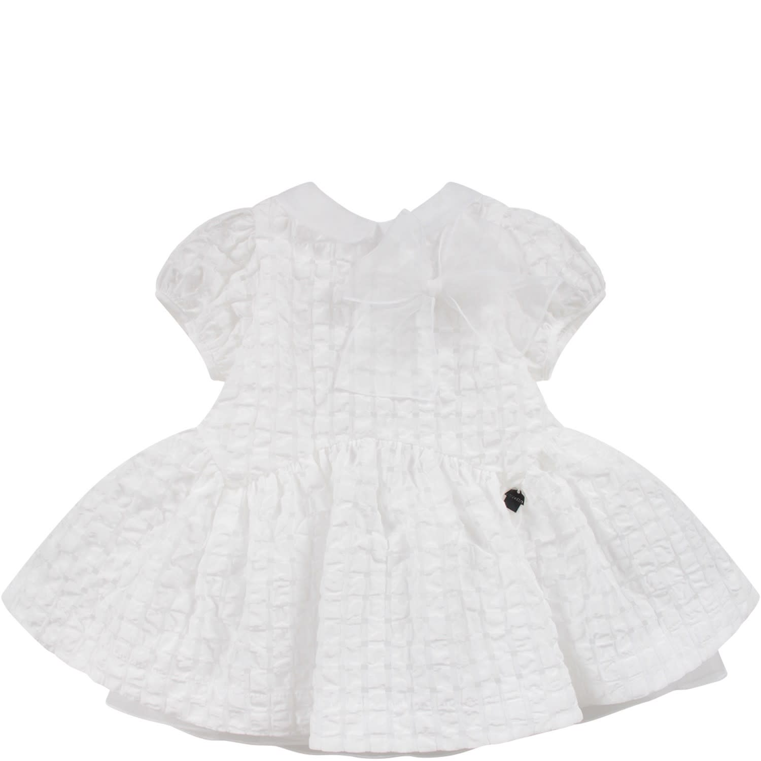 Buy Simonetta White Babygirl Dress With Bow online, shop Simonetta with free shipping