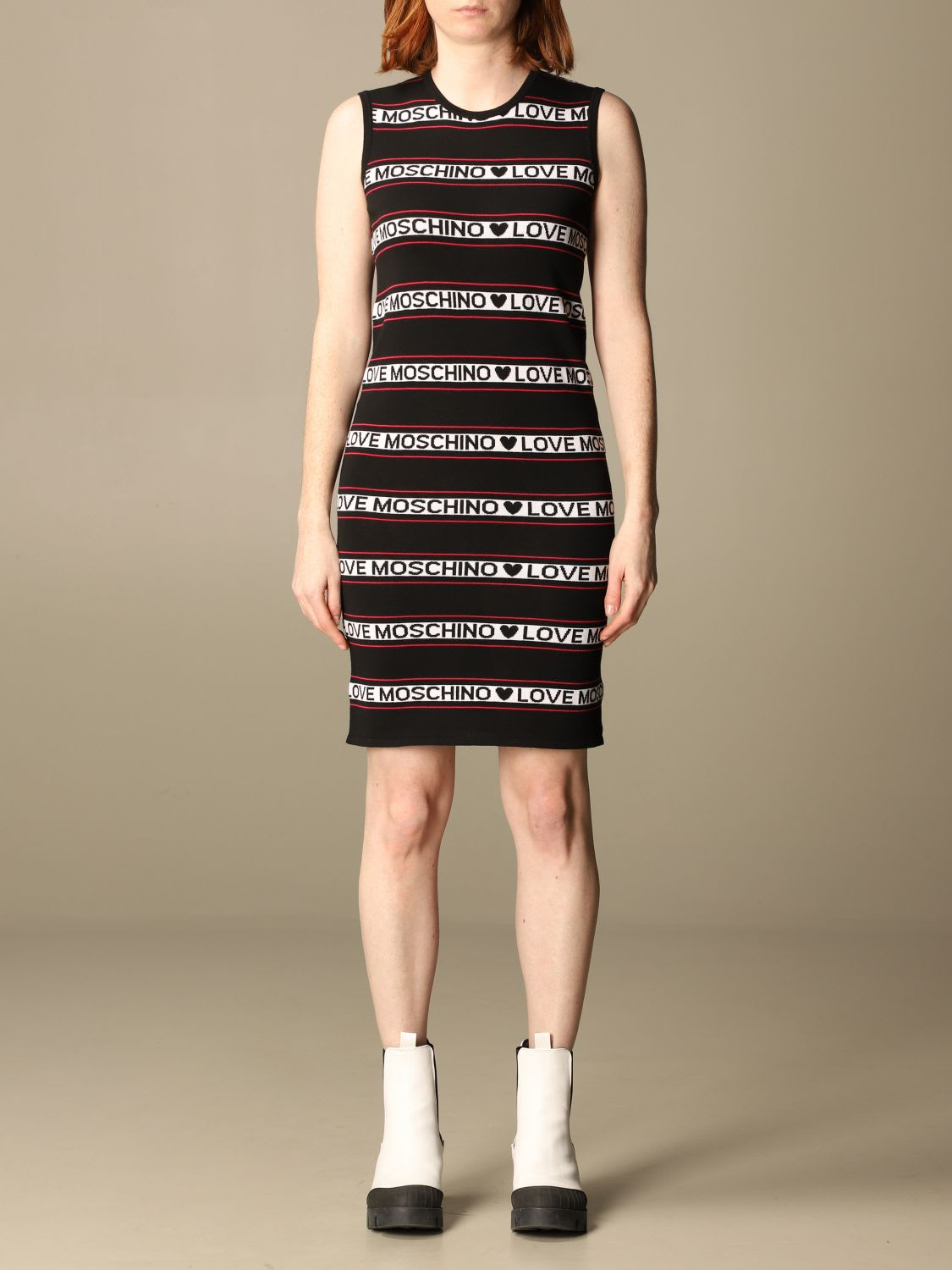 Love Moschino KNIT DRESS WITH JAQUARD LOGO