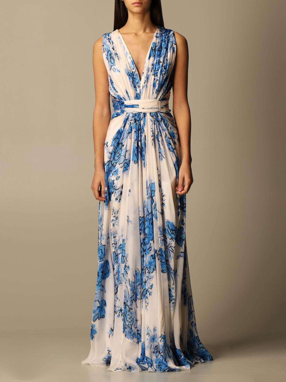 Alberta Ferretti Dress Alberta Ferretti Long Dress In Floral Silk Chiffon