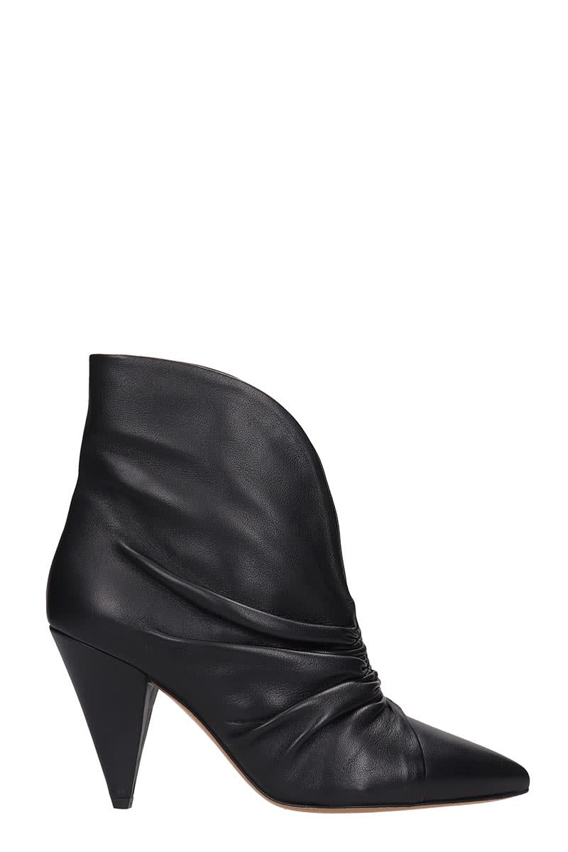 Isabel Marant Leathers LASTEEN HIGH HEELS ANKLE BOOTS IN BLACK LEATHER