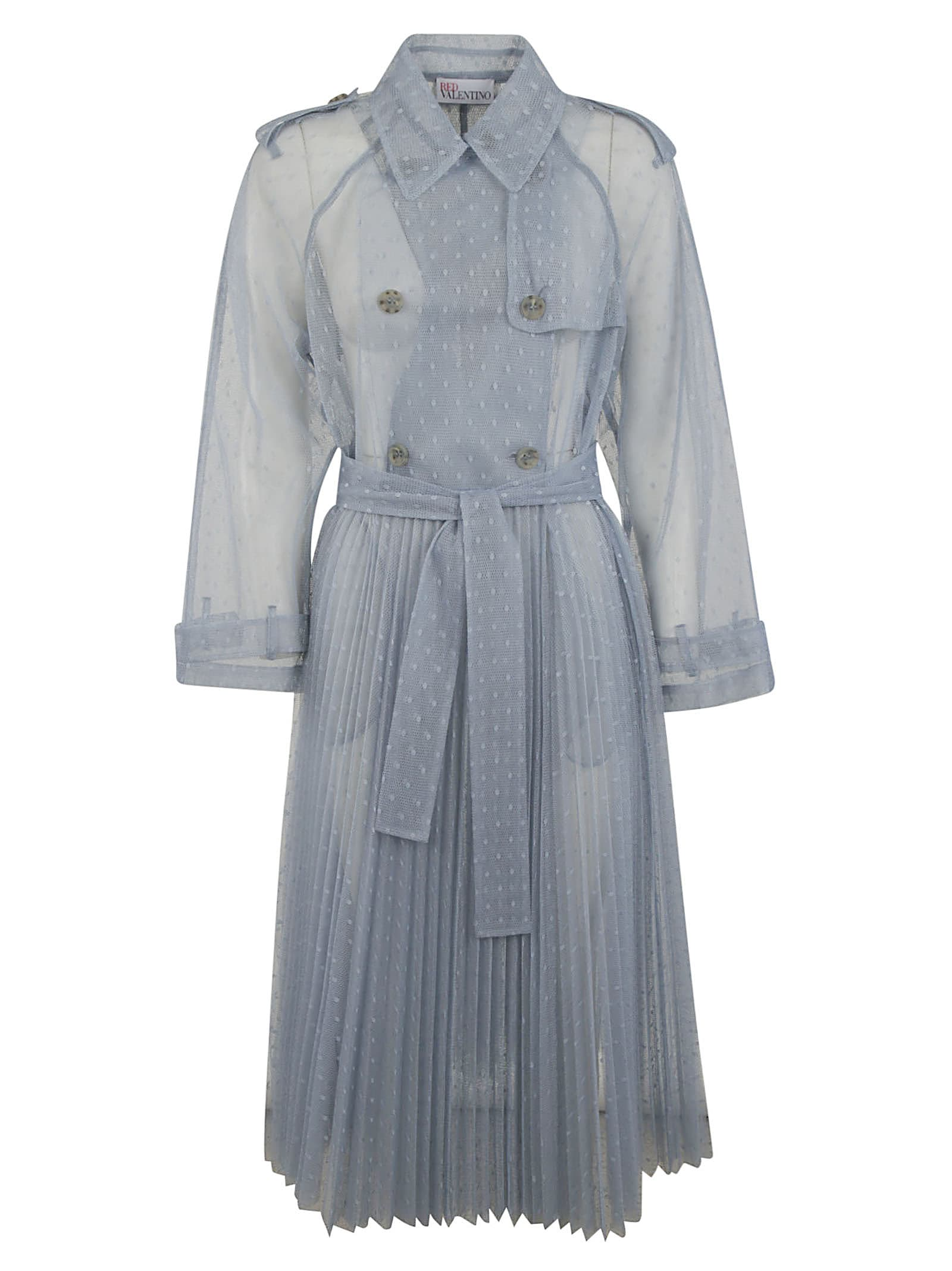 Buy RED Valentino Double Breasted Pleated Long See-through Trench Dress online, shop RED Valentino with free shipping
