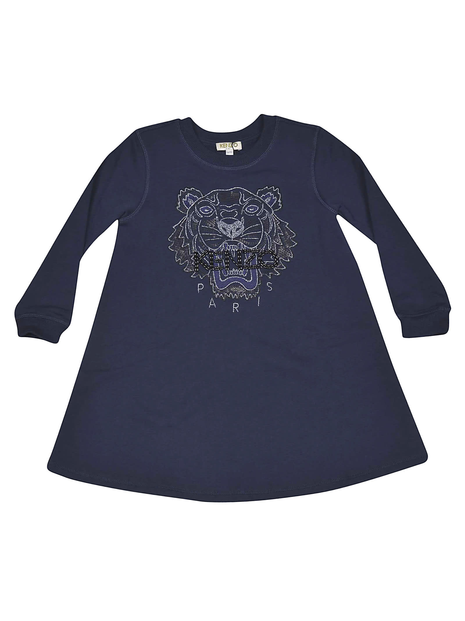 Photo of  Kenzo Kids Tiger Embroidered Dress- shop Kenzo Kids  online sales