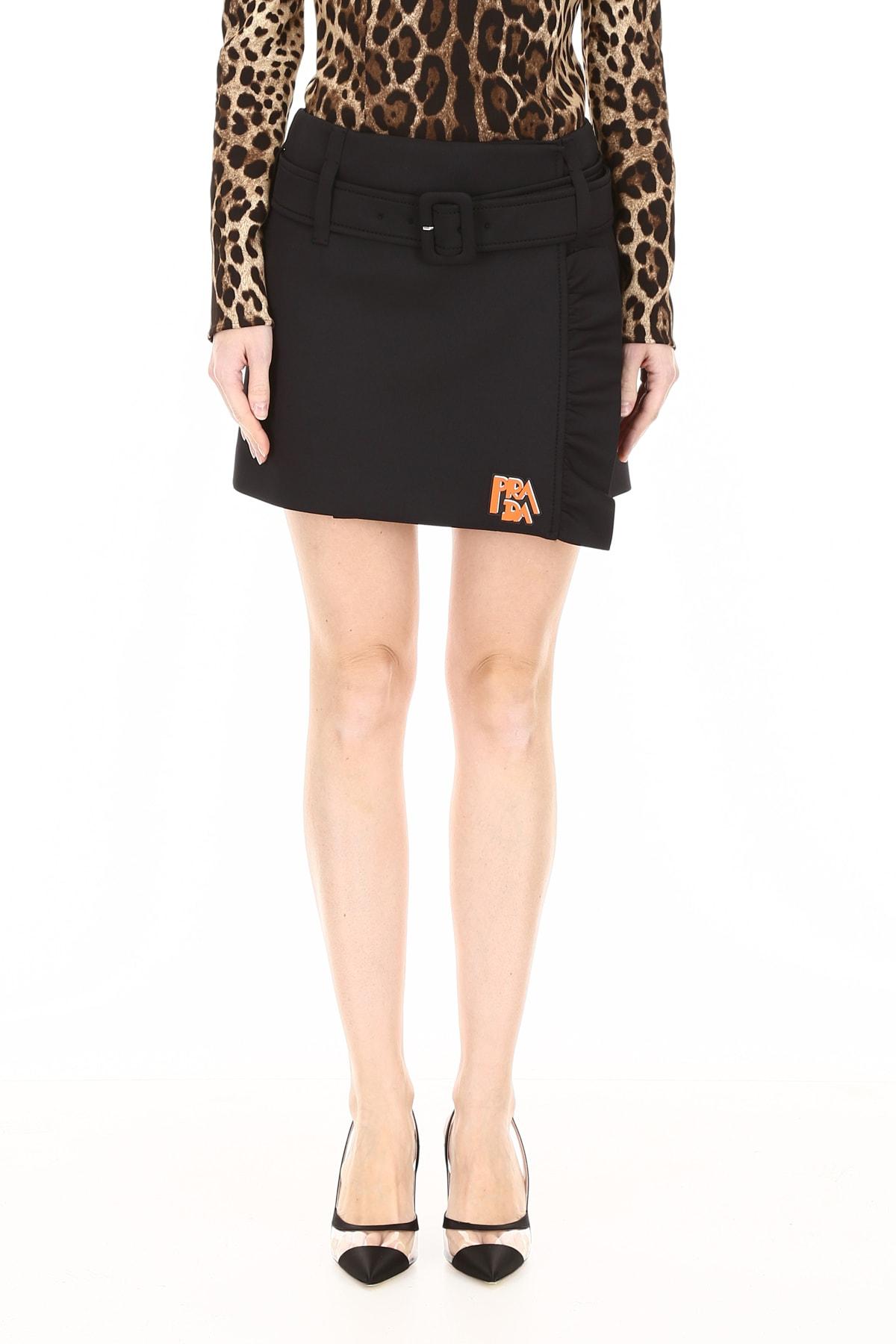 6d13619bc9a90 Prada Ruffled Mini Skirt With Logo