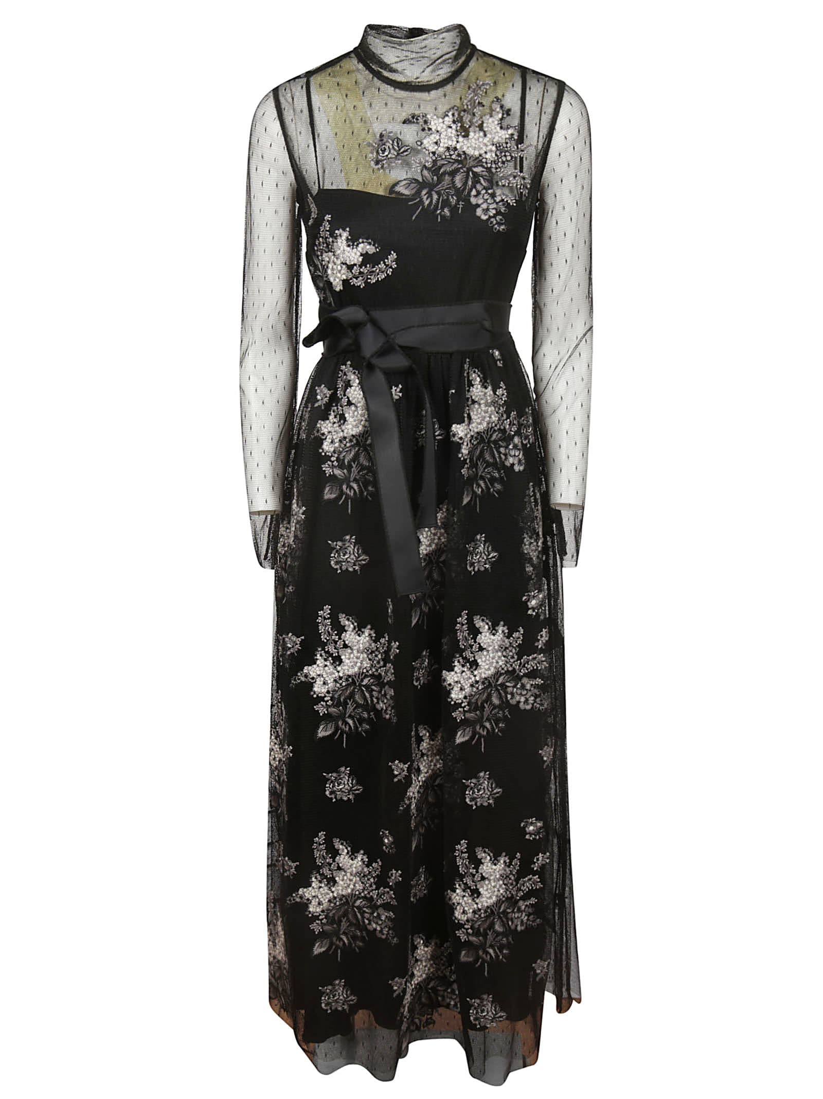 RED Valentino See-through Detail Floral Long Dress