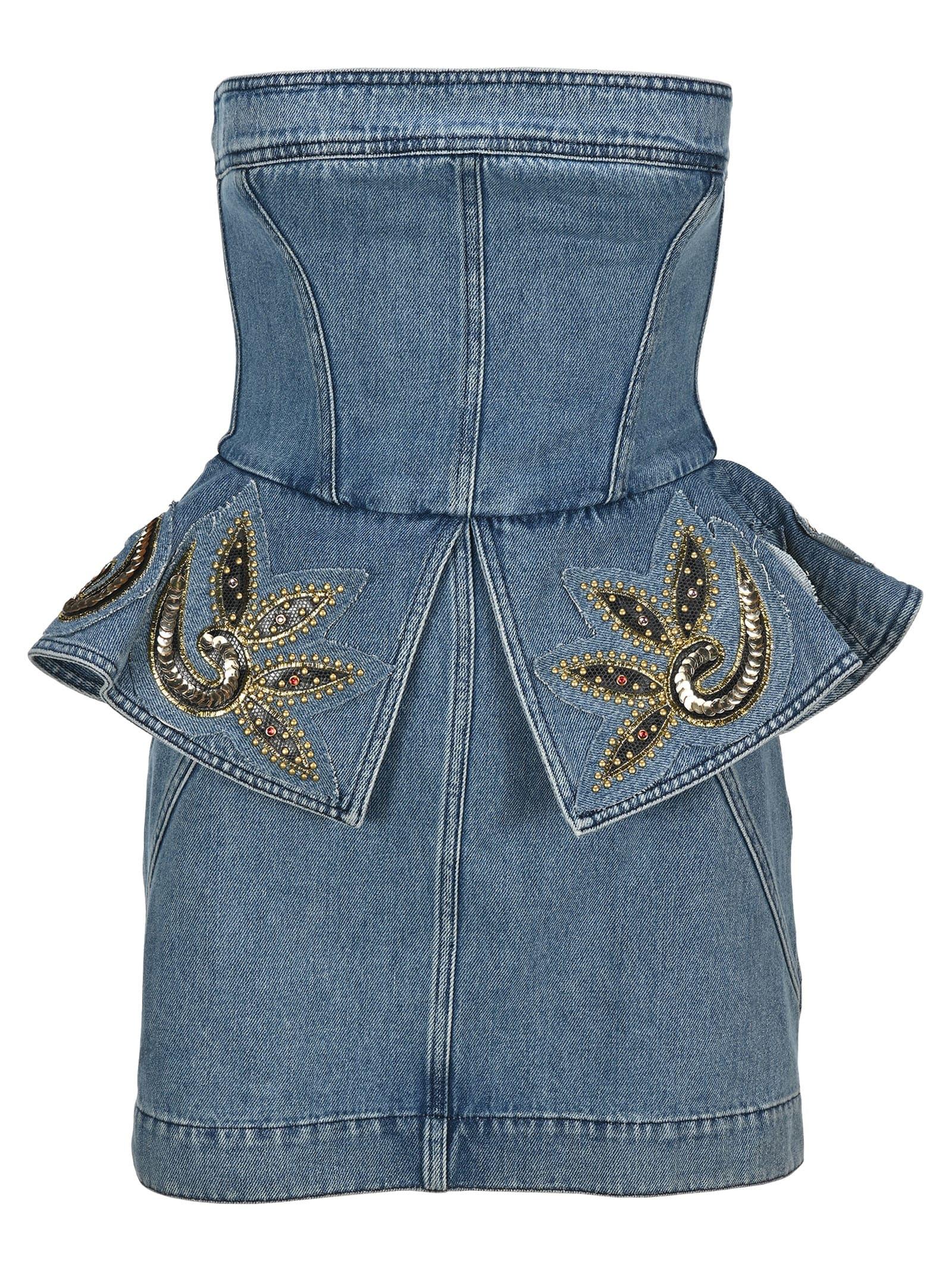Buy Philosophy Embellished Bustier Denim Mini Dress online, shop Philosophy di Lorenzo Serafini with free shipping