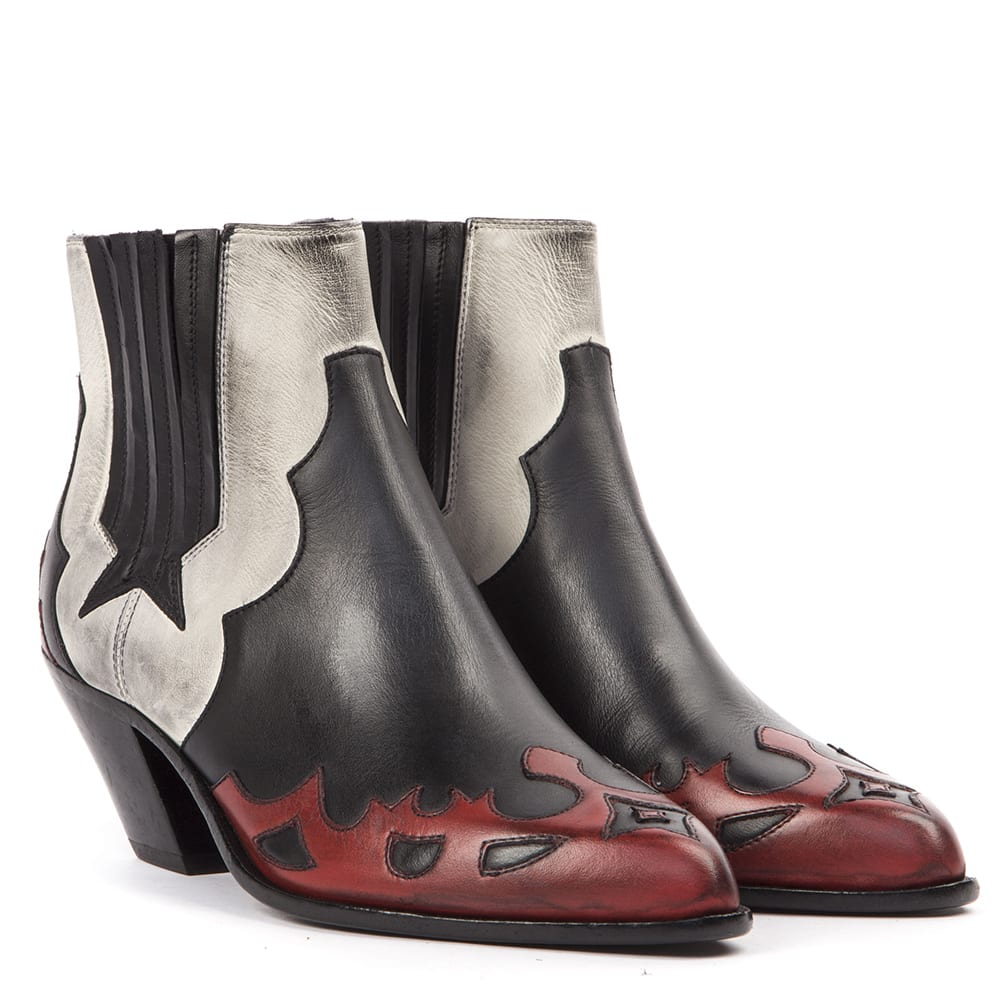 Cheap And Nice Golden Goose Cowboy Boots In Black Red White Leather - Great Deals