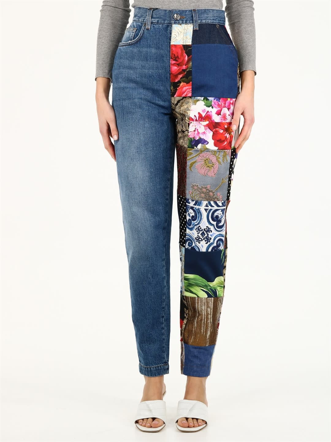 Dolce & Gabbana JEANS WITH BROCADE PATCH