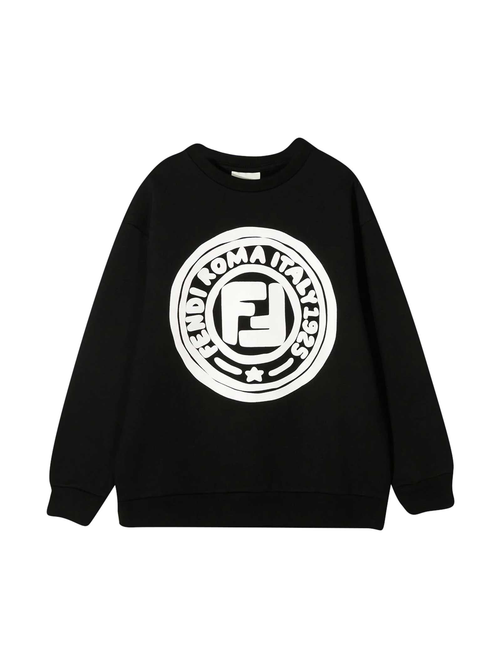 FENDI BLACK TEEN SWEATSHIRT WITH LOGO