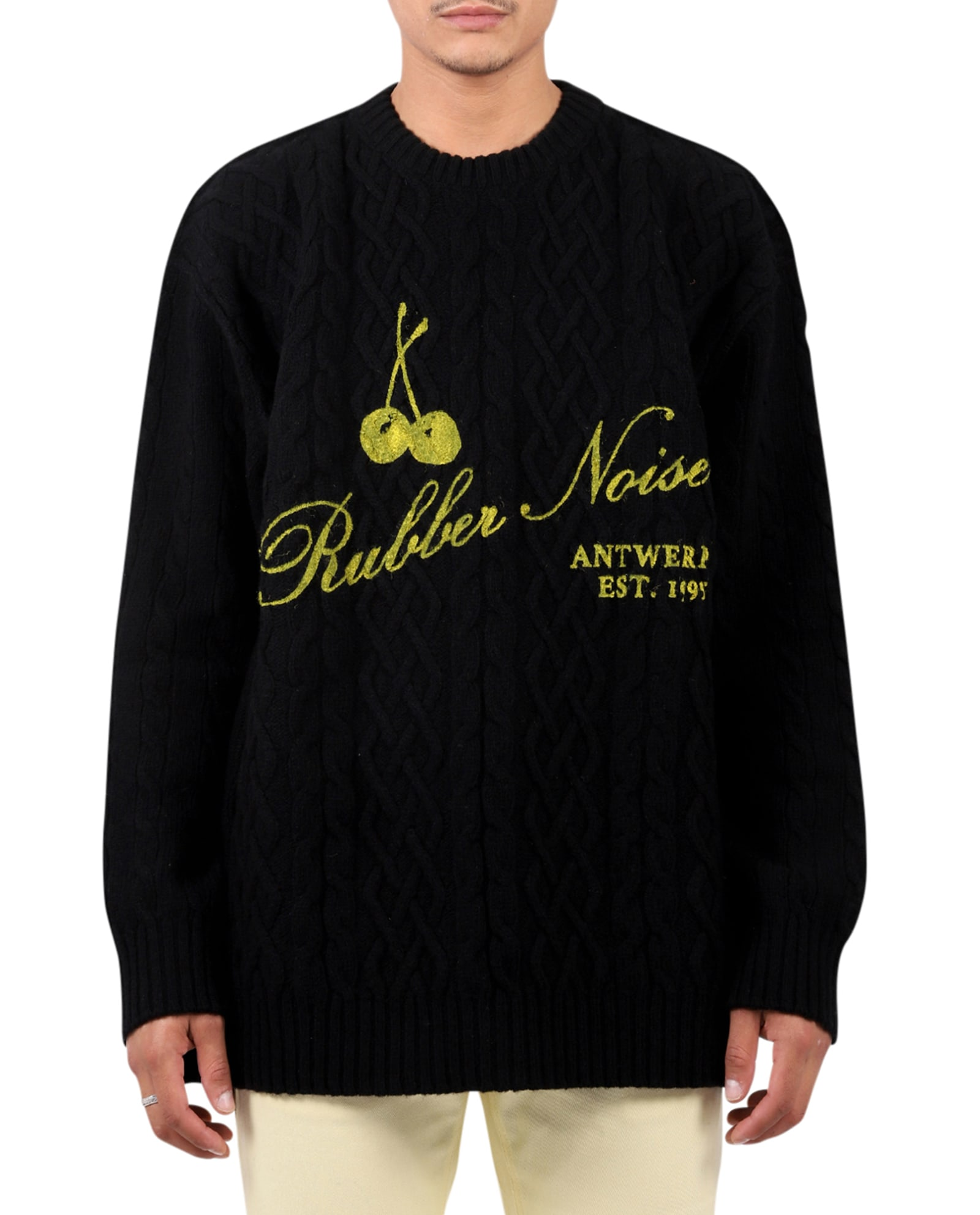 Raf Simons Knits BLACK ARAN KNIT SWEATER