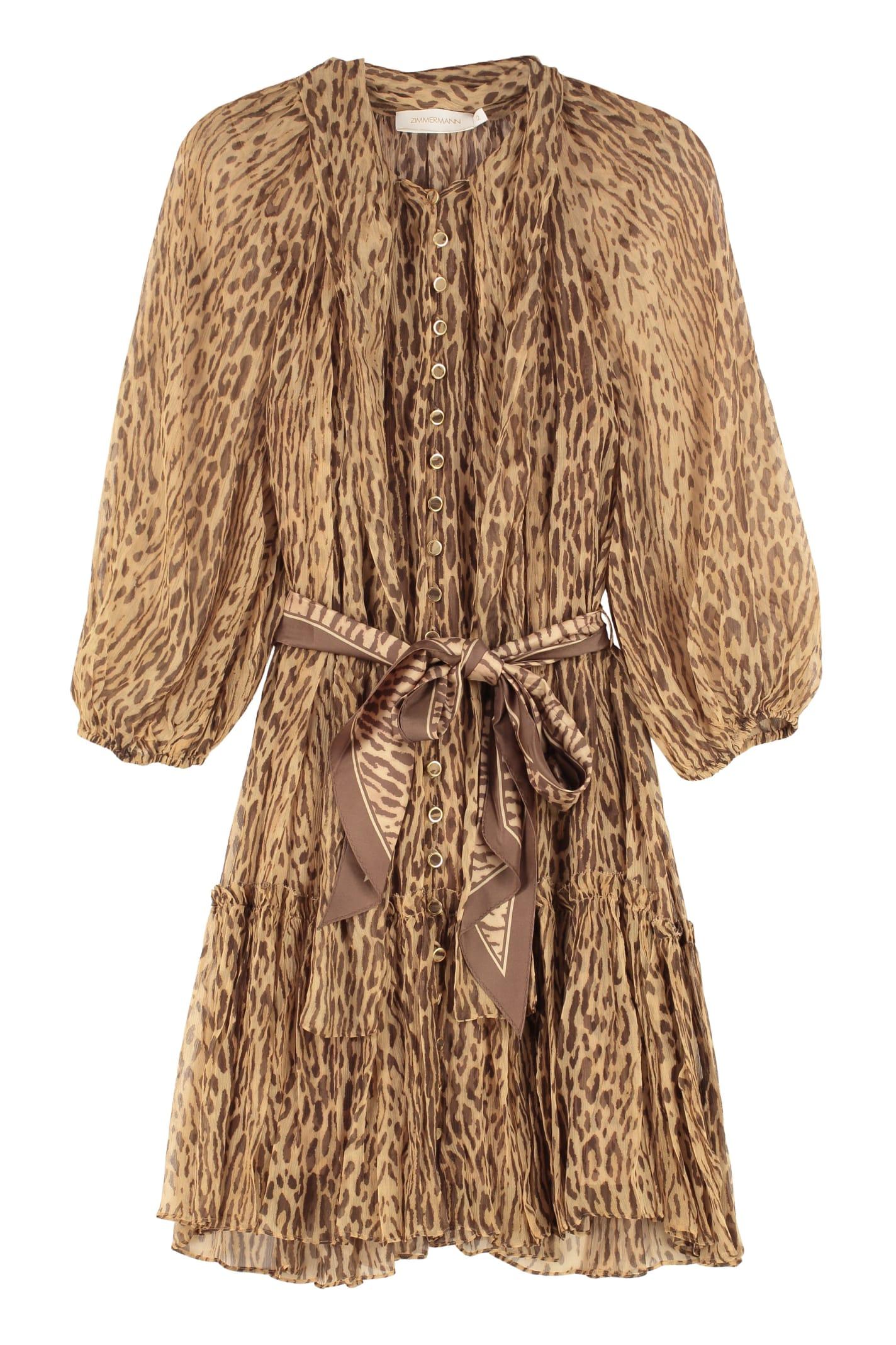Buy Zimmermann Espionage Belted Silk Dress online, shop Zimmermann with free shipping