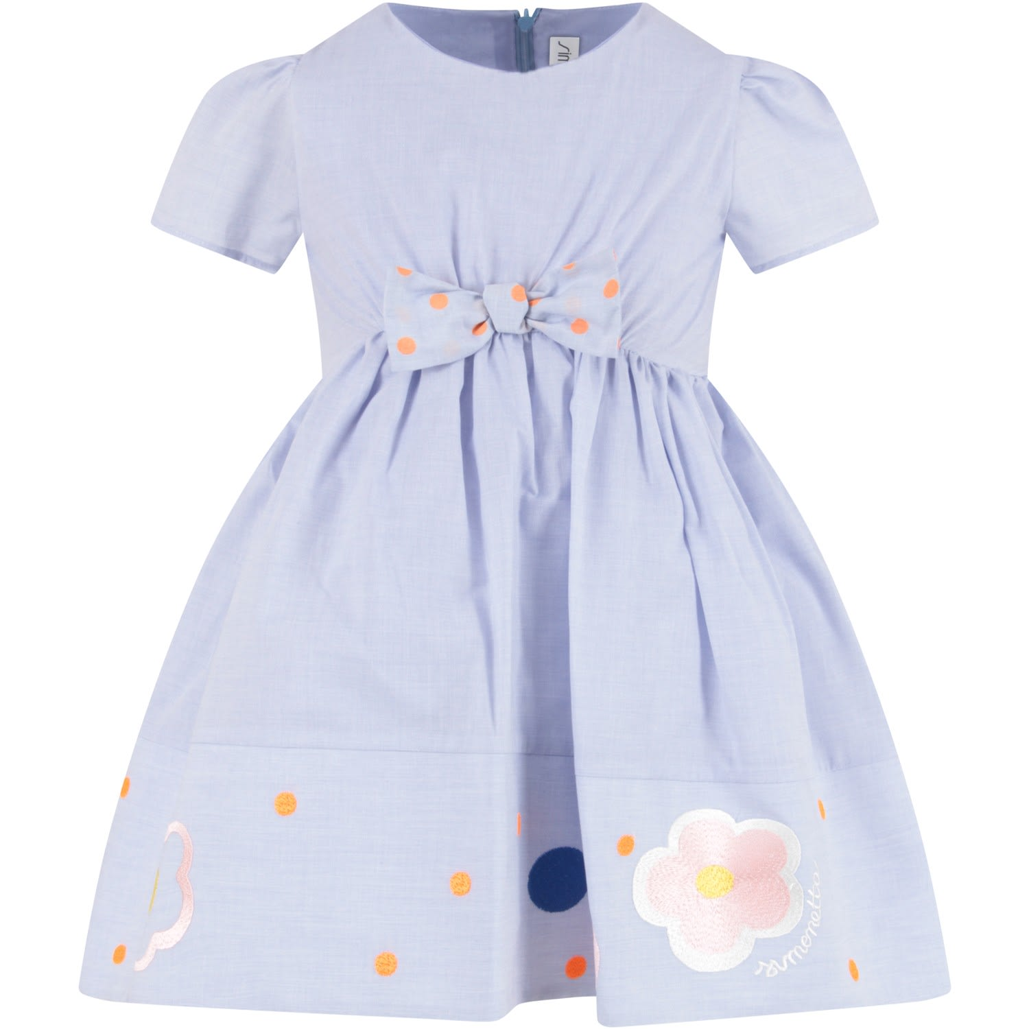 Buy Simonetta Light Blue Girl Dress With Logo online, shop Simonetta with free shipping