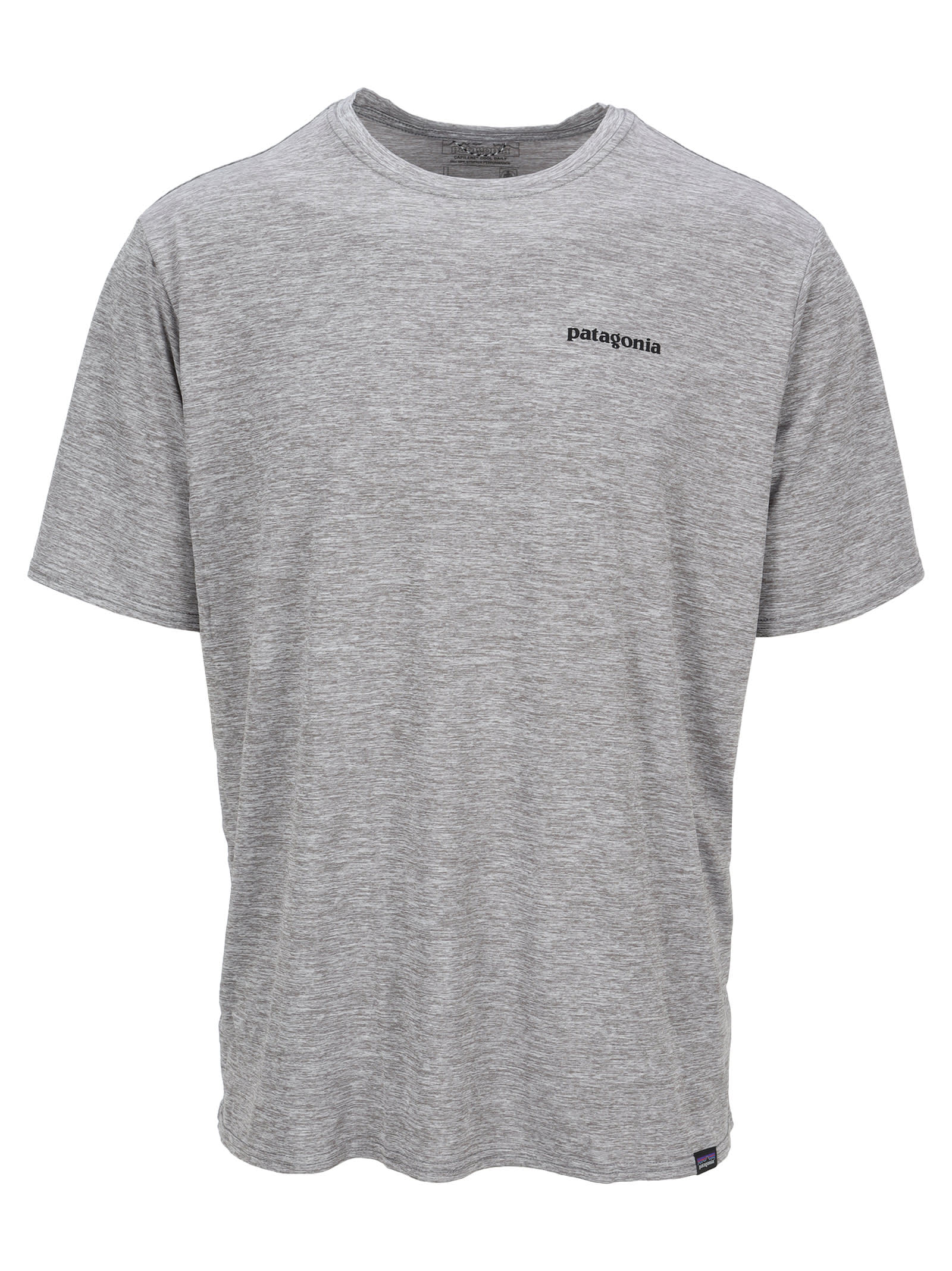 Grey Capilene T-shirt By Patagonia. Featuring: - Crew Neck; - Logo Print At The Chest And Back; - Short Sleeves; - Straight Hem. Composition: 100% POLYESTER