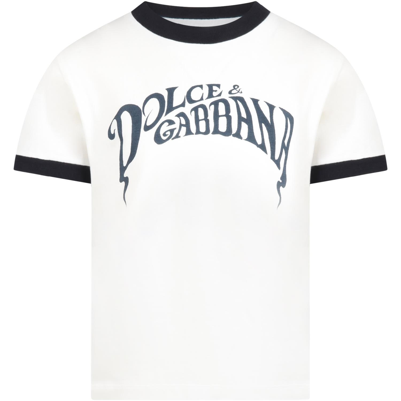 Dolce & Gabbana WHITE T-SHIRT FOR BOY WITH LOGO