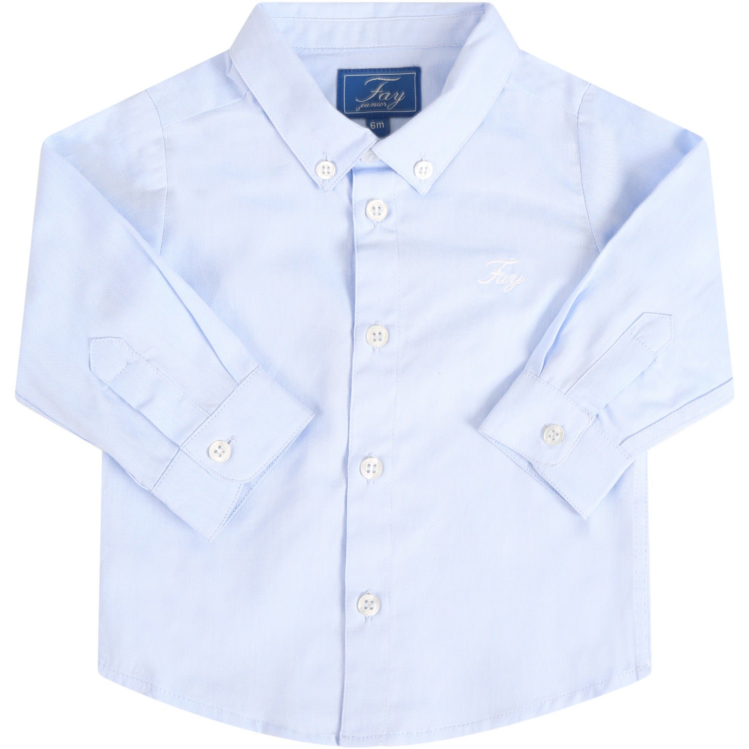 Fay Cottons WHITE SHIRT FOR BABYBOY WITH LOGO