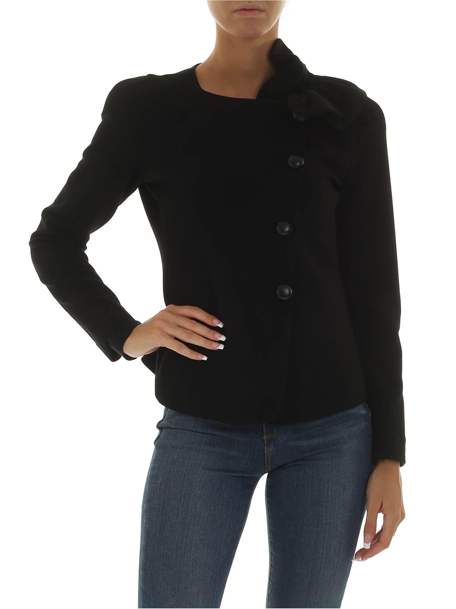 Emporio Armani Black Jacket With Bow Detail