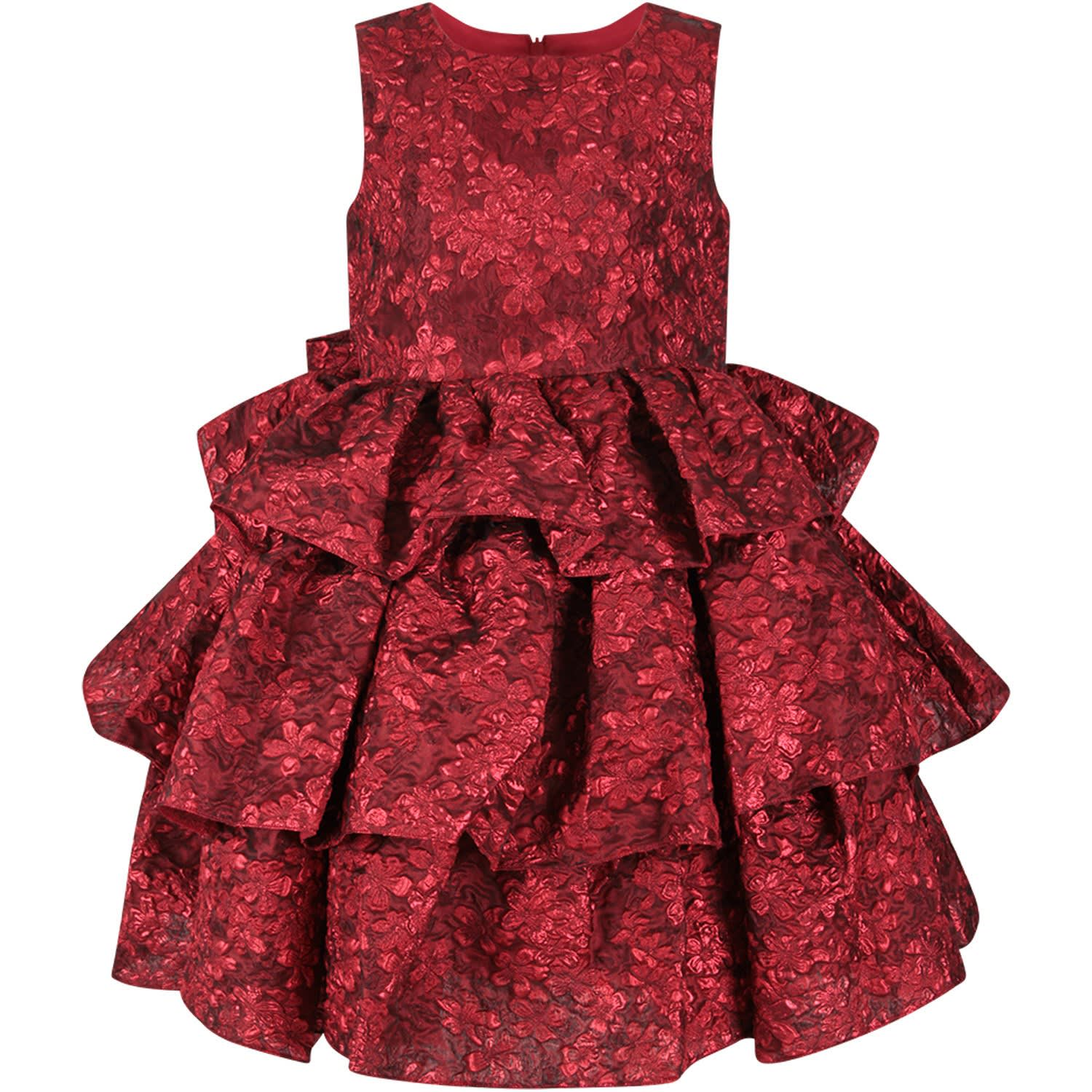 Oscar de la Renta Red Girl Dress With Flowers
