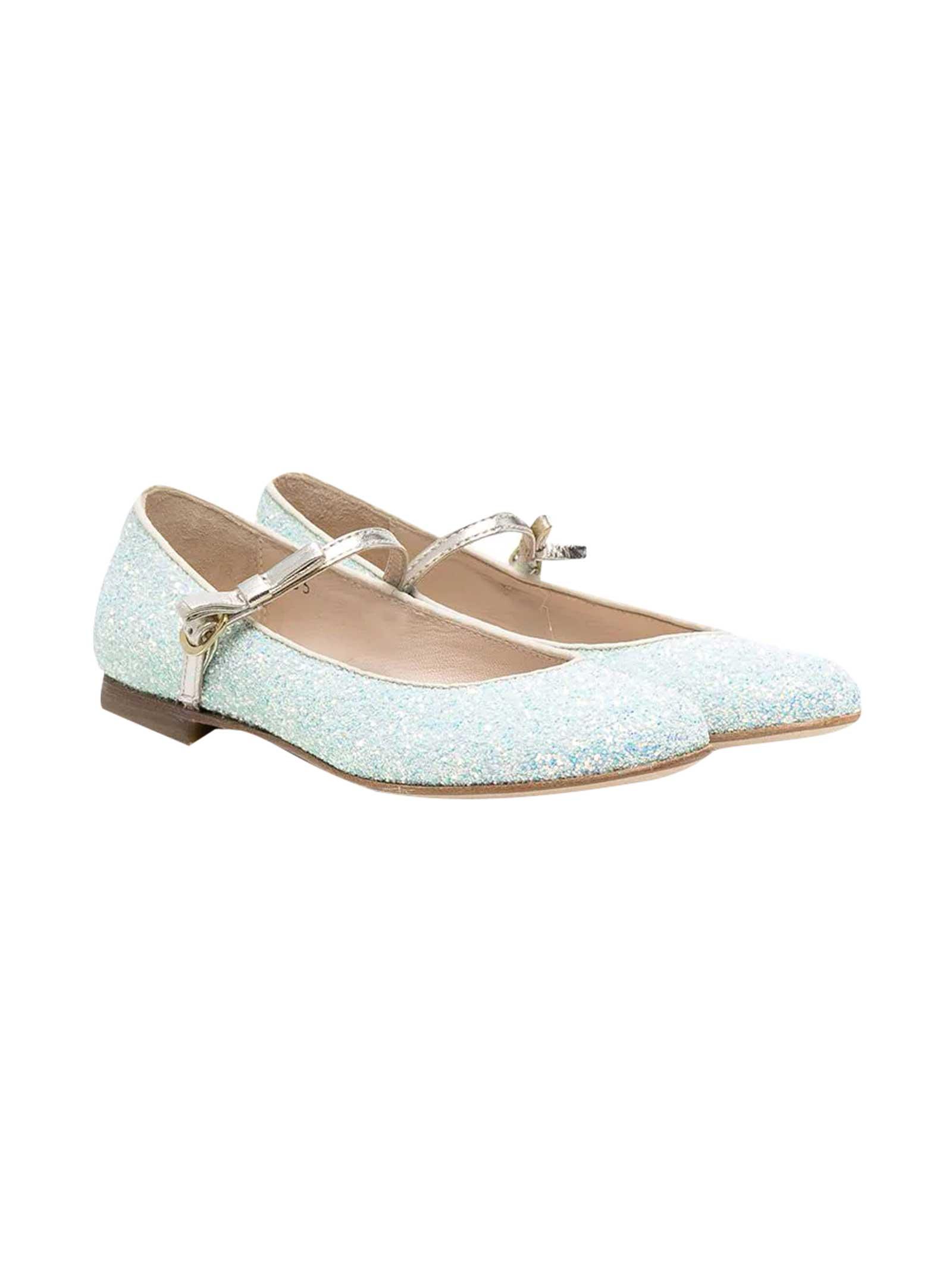 Gallucci Shoes BLUE GLITTER TEEN BALLET FLATS