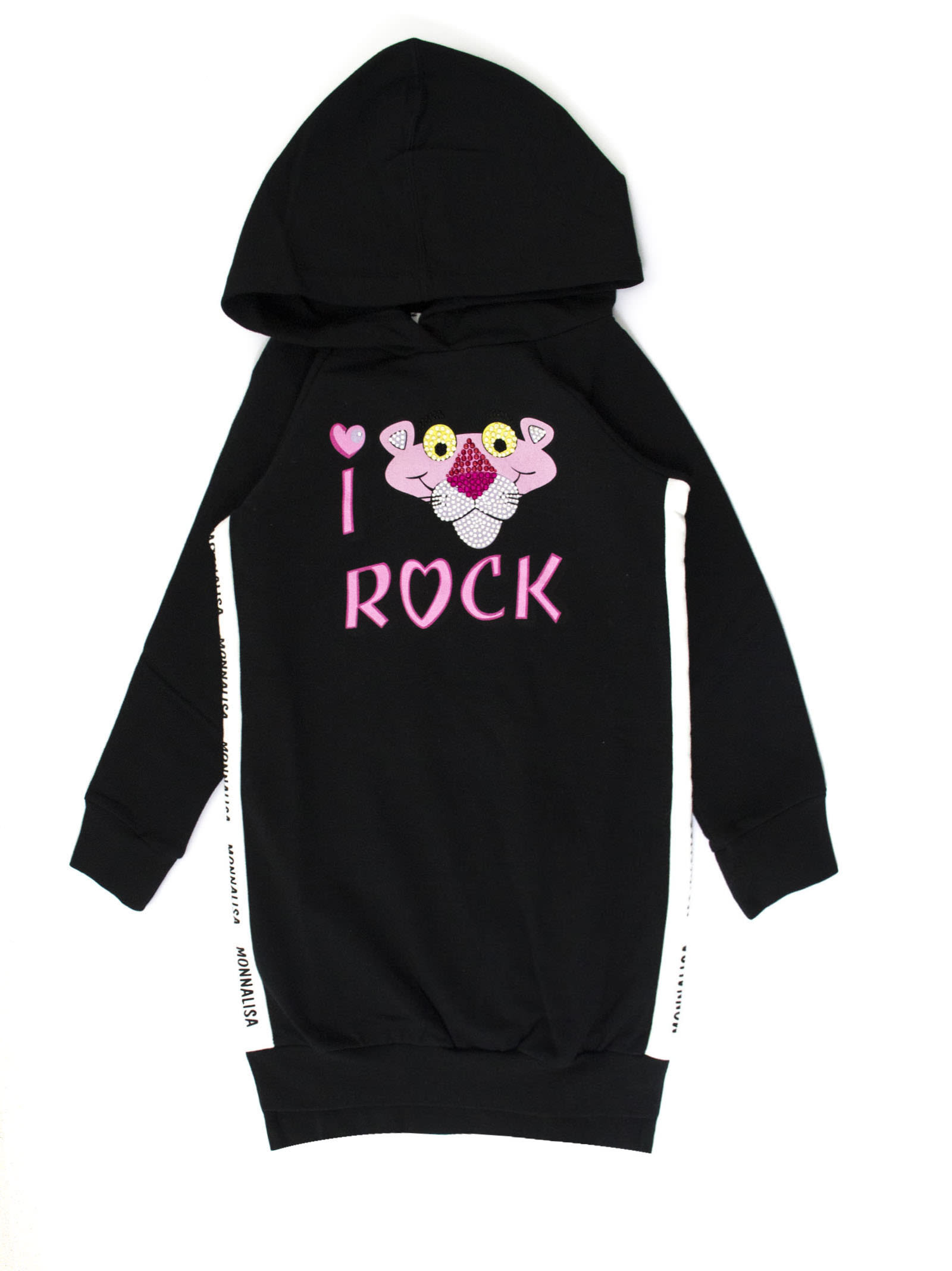 Monnalisa Black Cotton Blend Pink Panther Hooded Dress