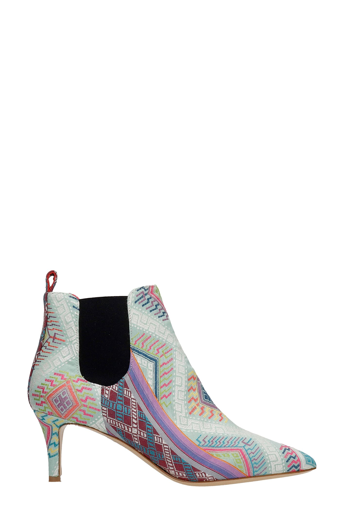 High Heels Ankle Boots In Multicolor Fabric