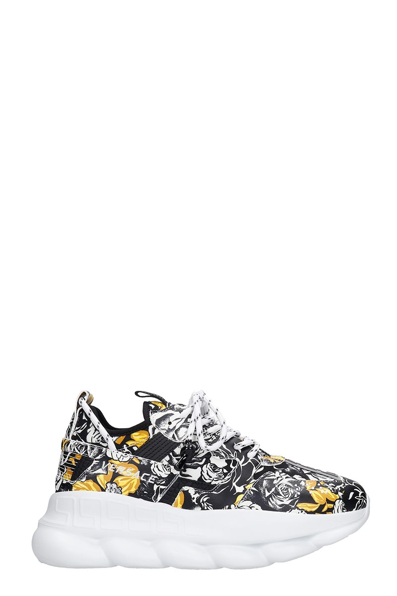 Versace Leathers CHAIN REACTION SNEAKERS IN WHITE LEATHER