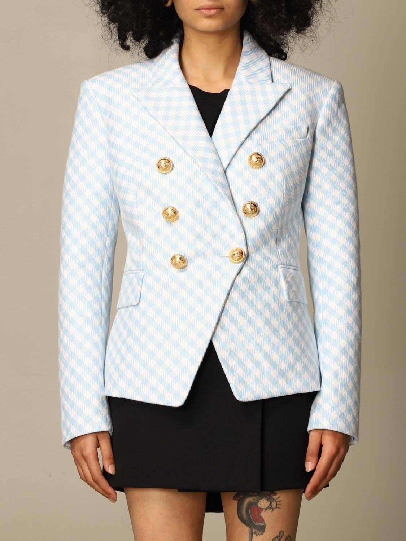Balmain Blazer Checked Double-breasted Balmain Jacket