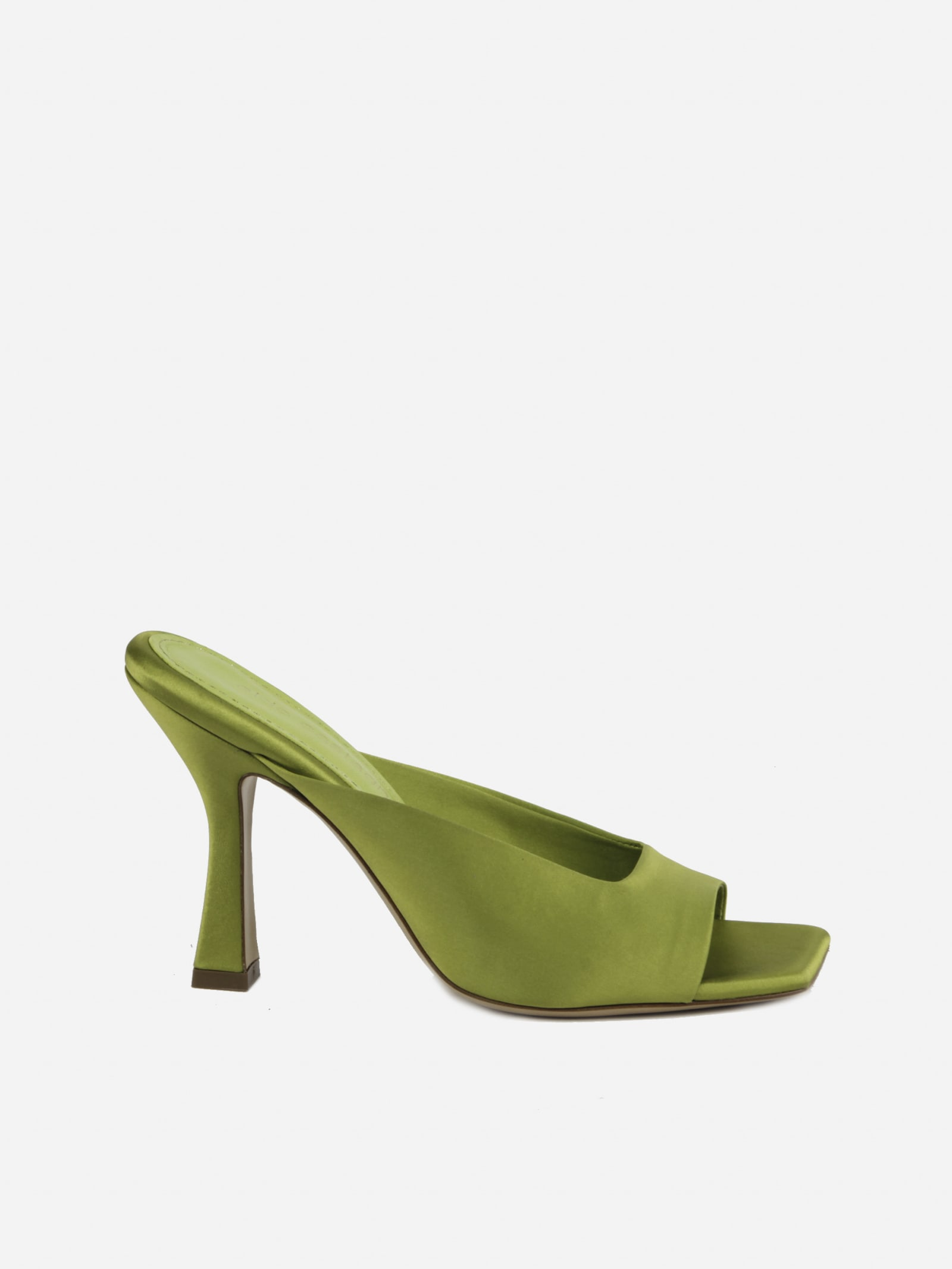 Square Heel Mules Made Of Satin