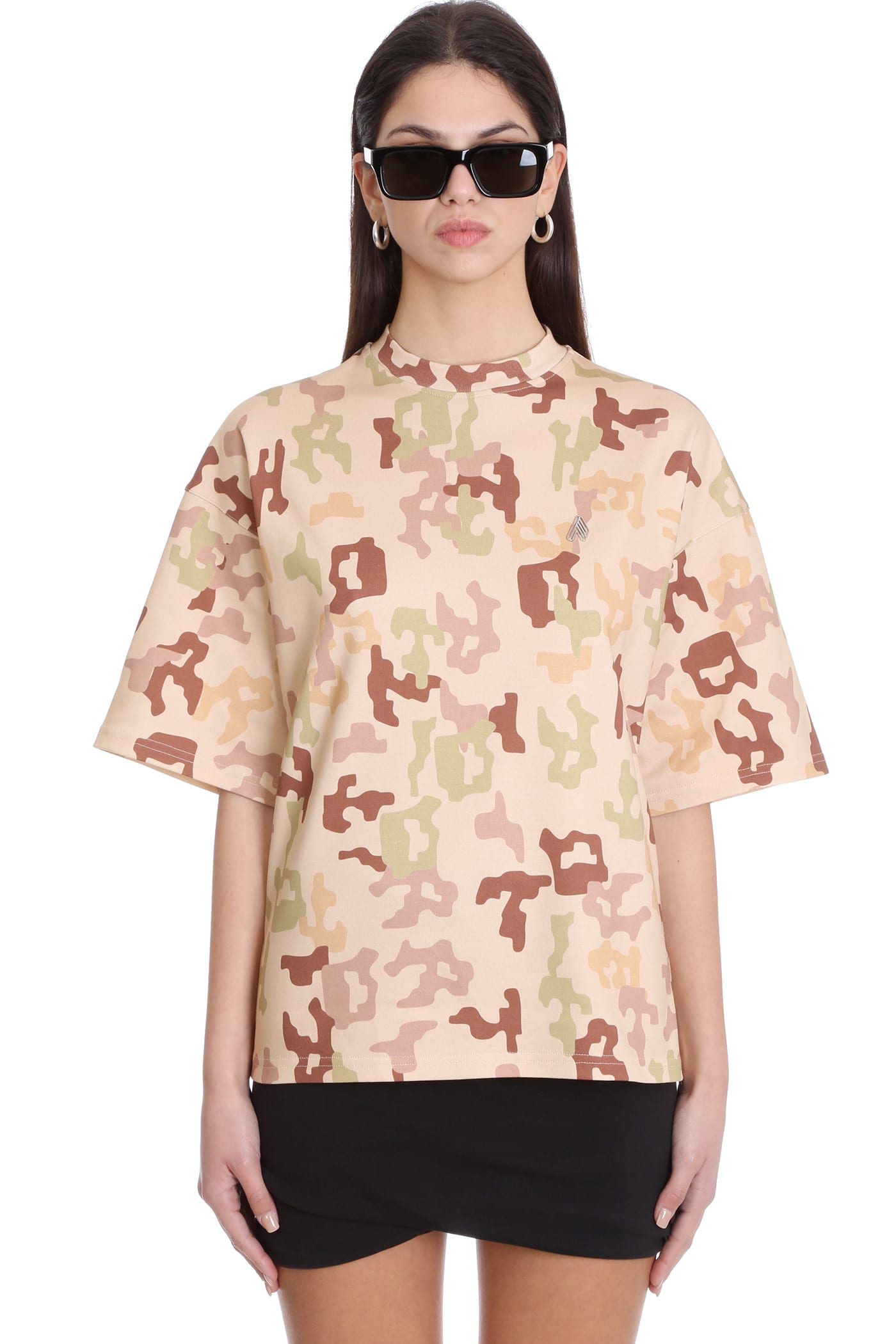 Attico CARA T-SHIRT IN BEIGE COTTON
