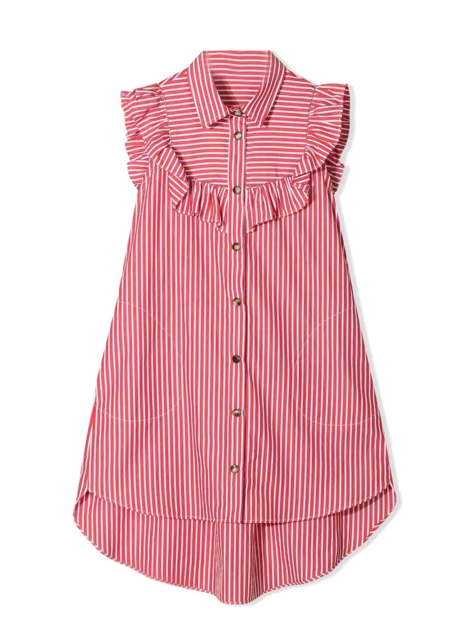 Brunello Cucinelli Red And White Cotton Shirt Dress