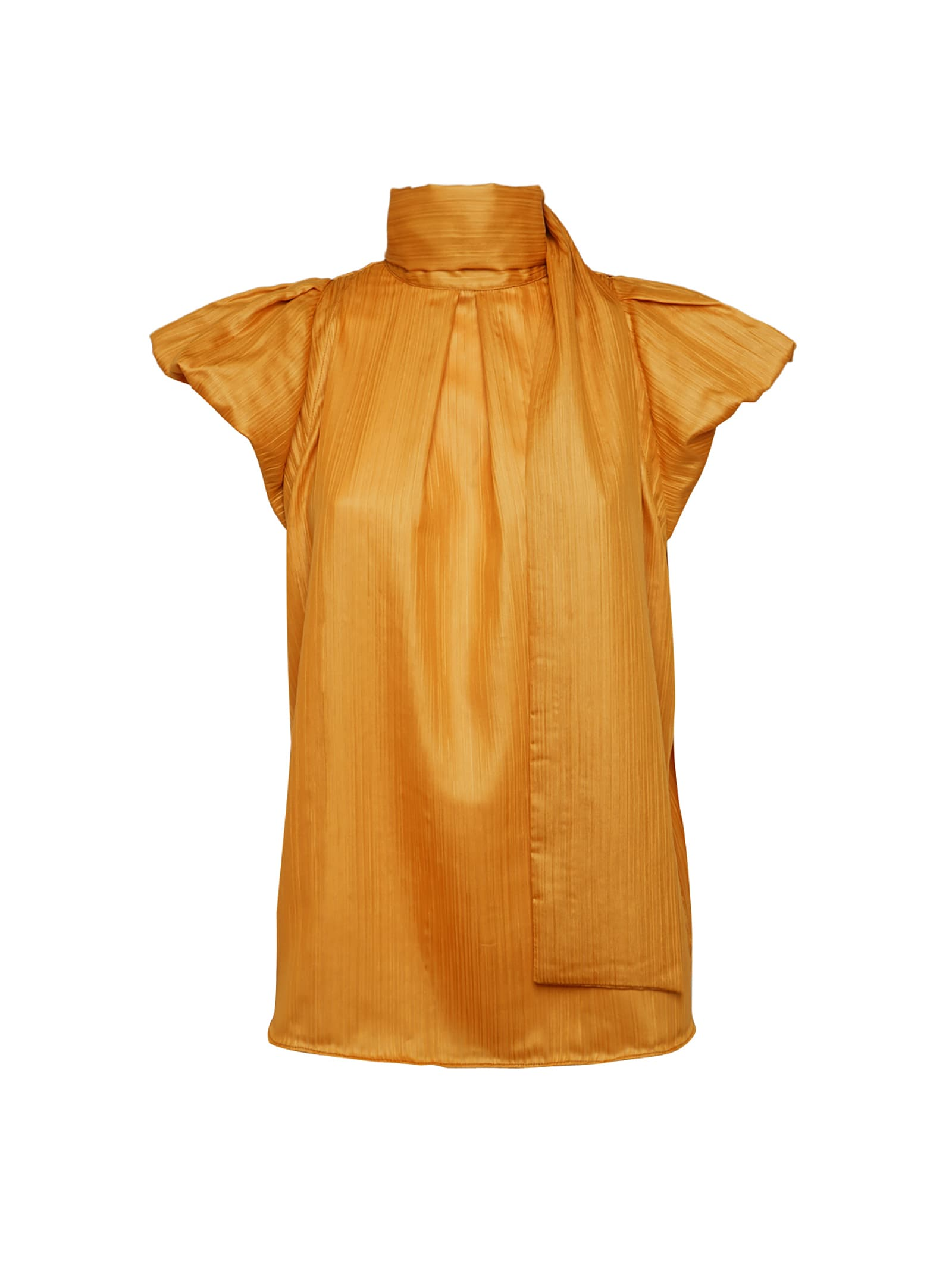 Ocher Top With Puffball Sleeves