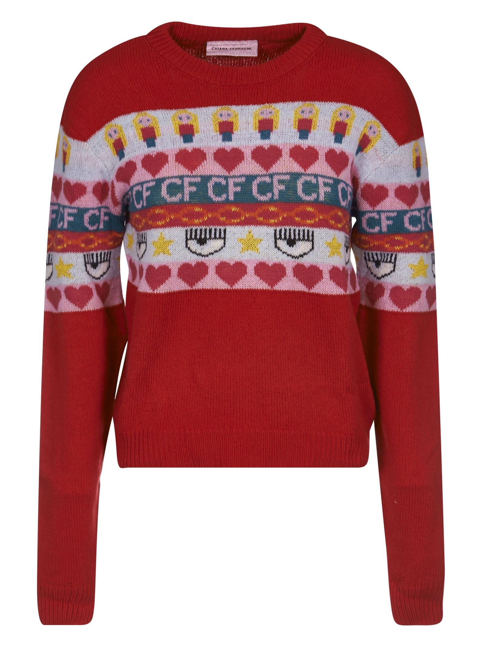 Chiara Ferragni Norwegian Crewneck Knit Sweater