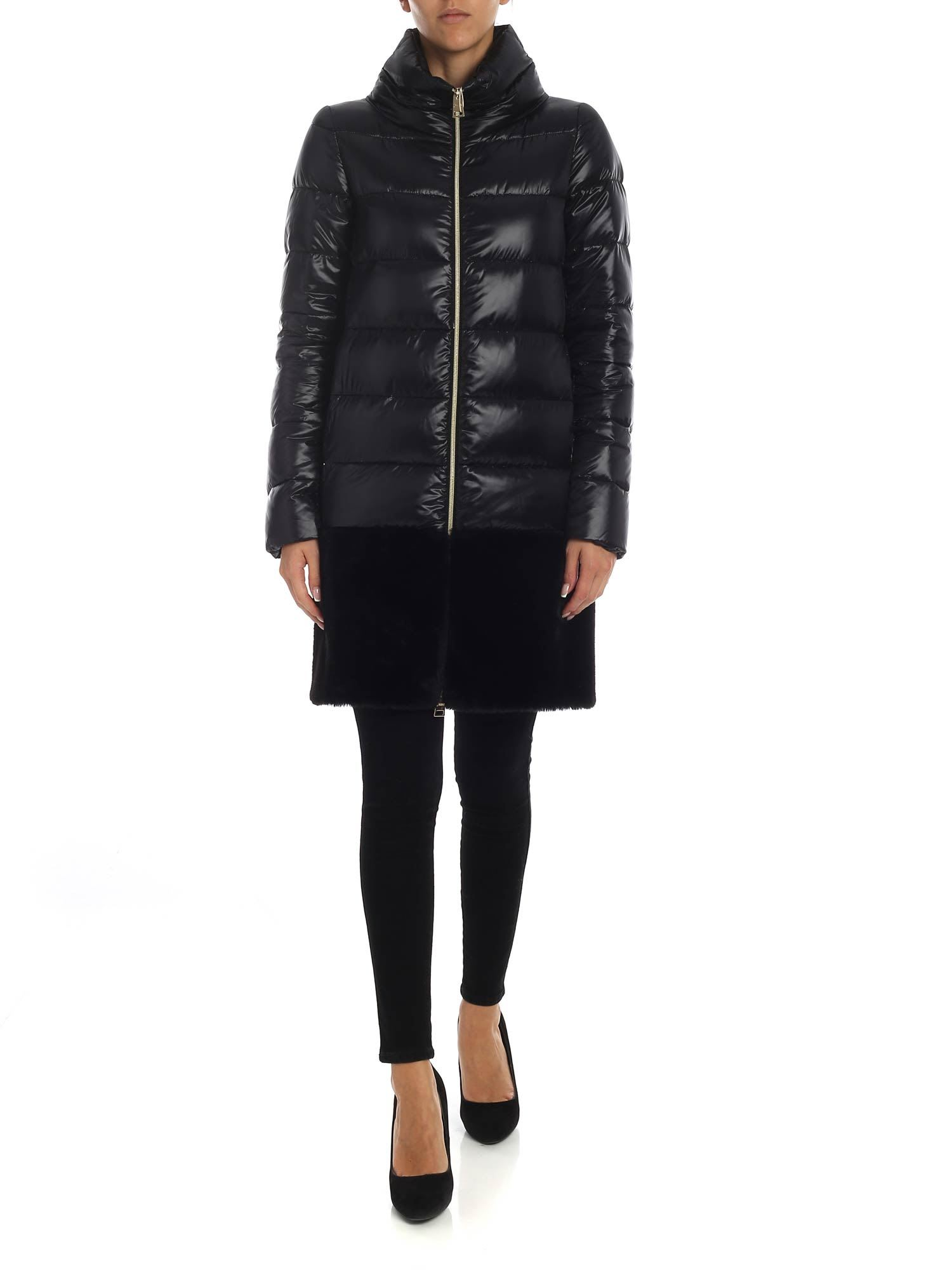 Herno Long Down Jacket With Faux Fur Insert