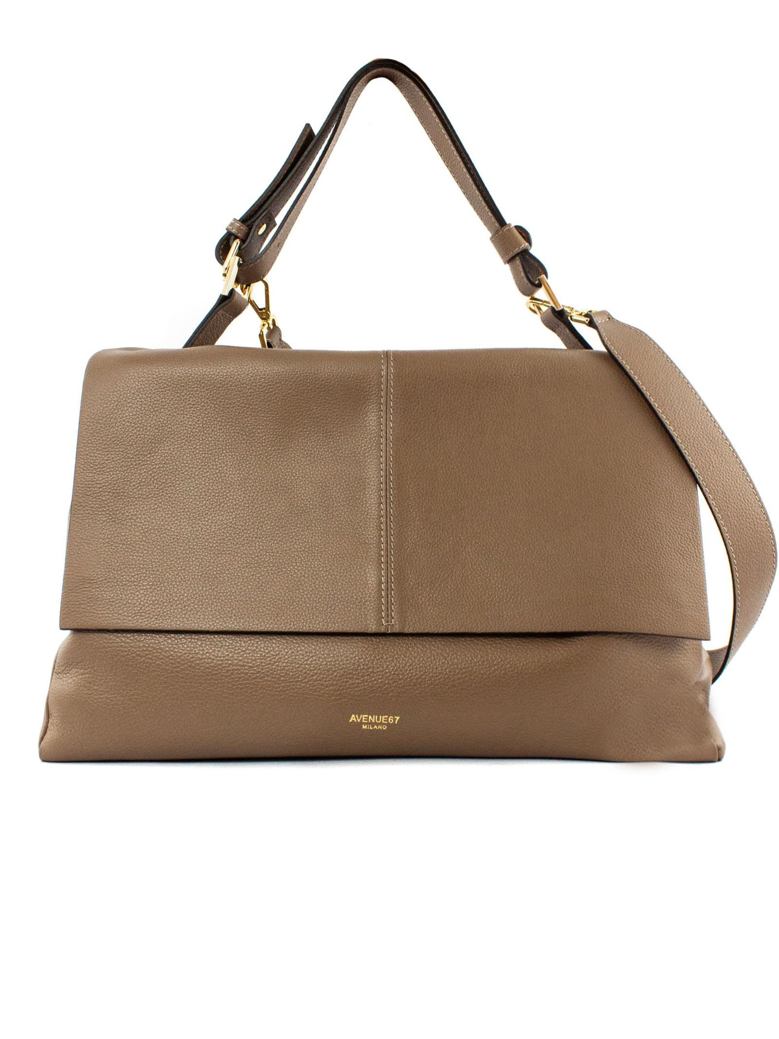 Elettra Giant Bag In Soft Brown Leather