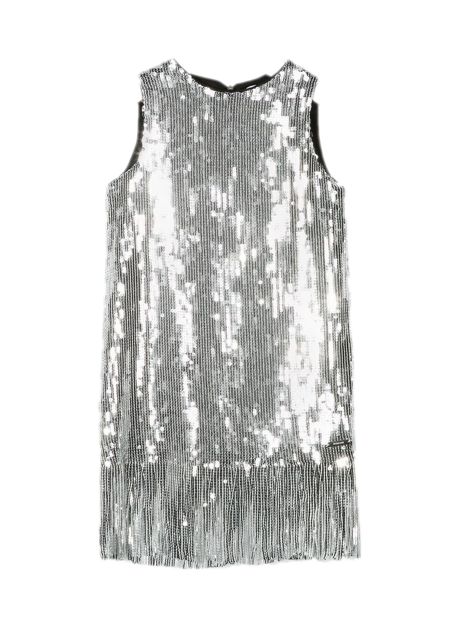 Buy MSGM Silver-tone Cotton Sequinned Dress online, shop MSGM with free shipping