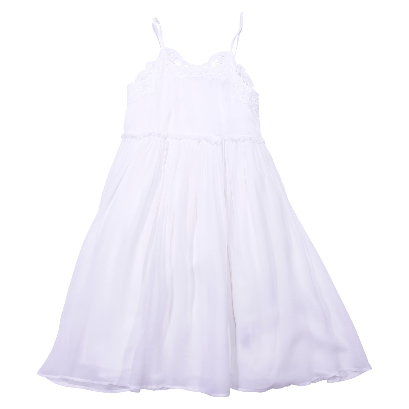 Stella McCartney White Silk & Tulle Dress