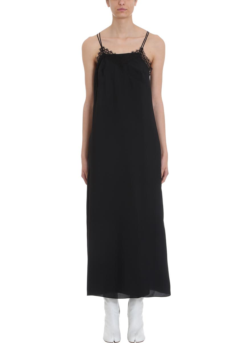 Maison Margiela Black Long Silk Dress