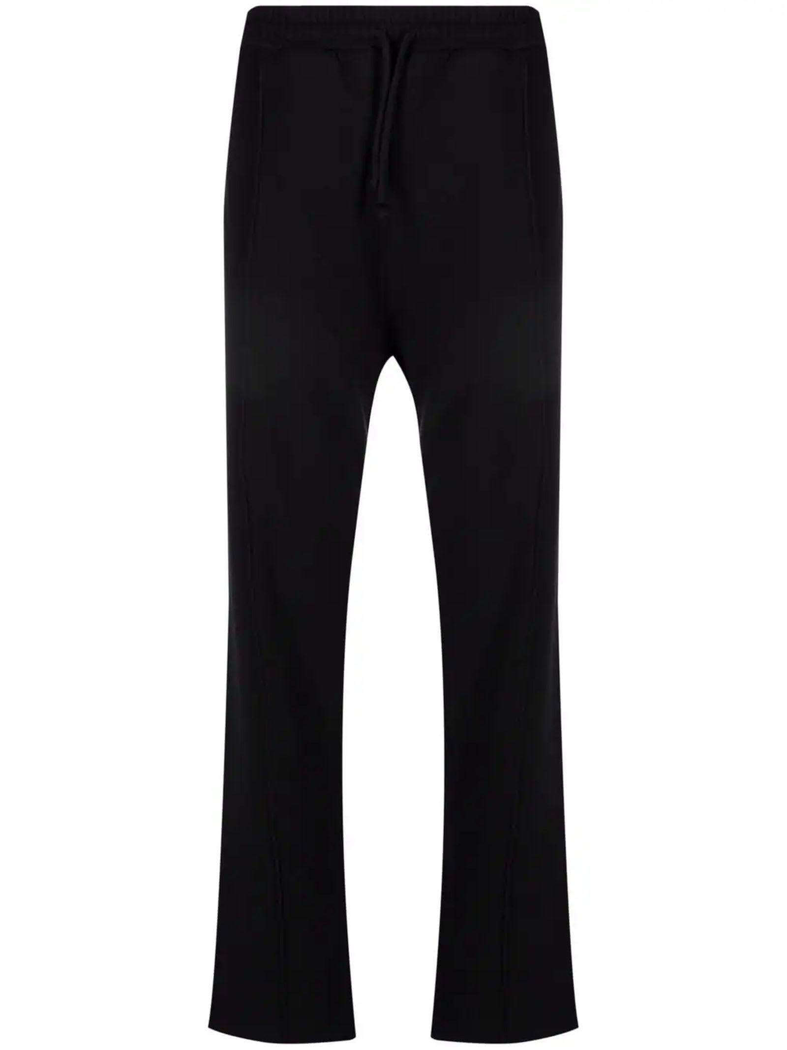 Black Cotton Track Trousers