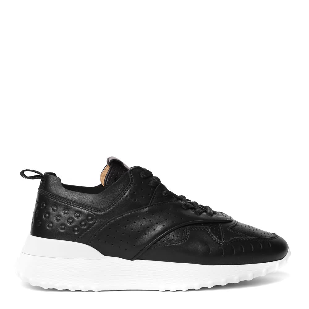 Tods Black Holed Leather Sneaker