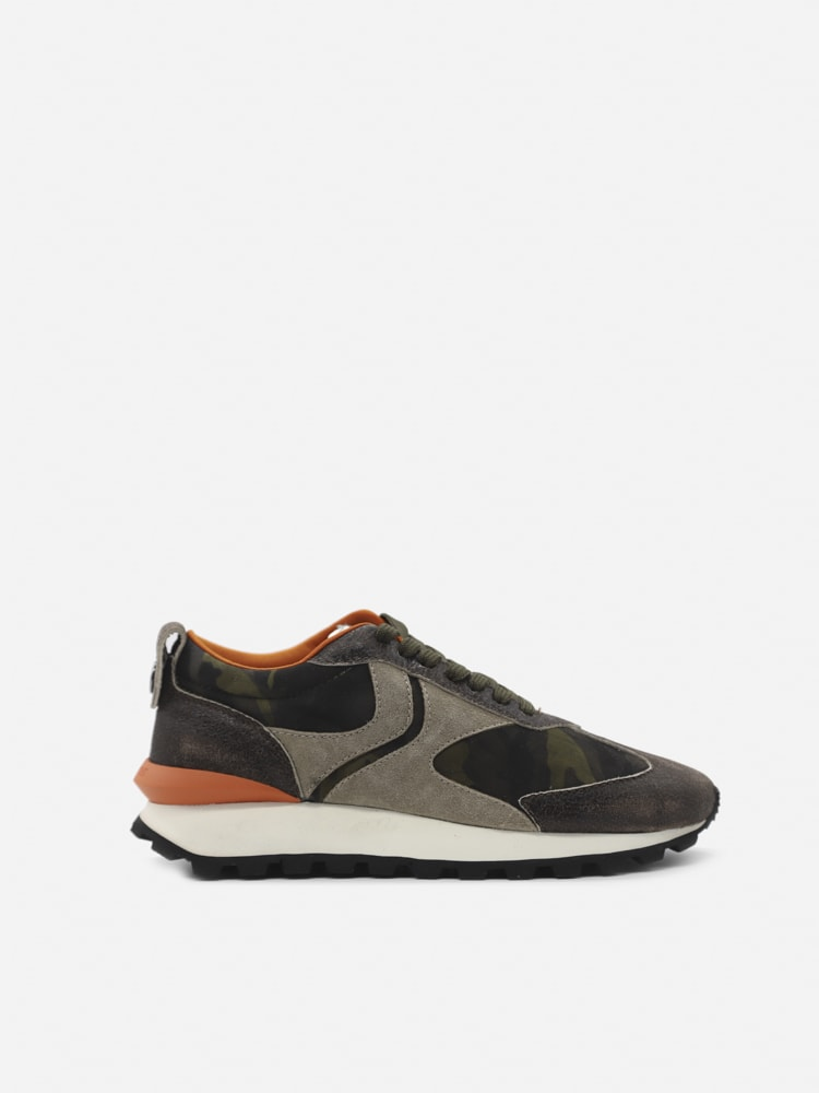 Voile Blanche Qwark Sneakers In Leather With Contrasting Inserts In Mouse