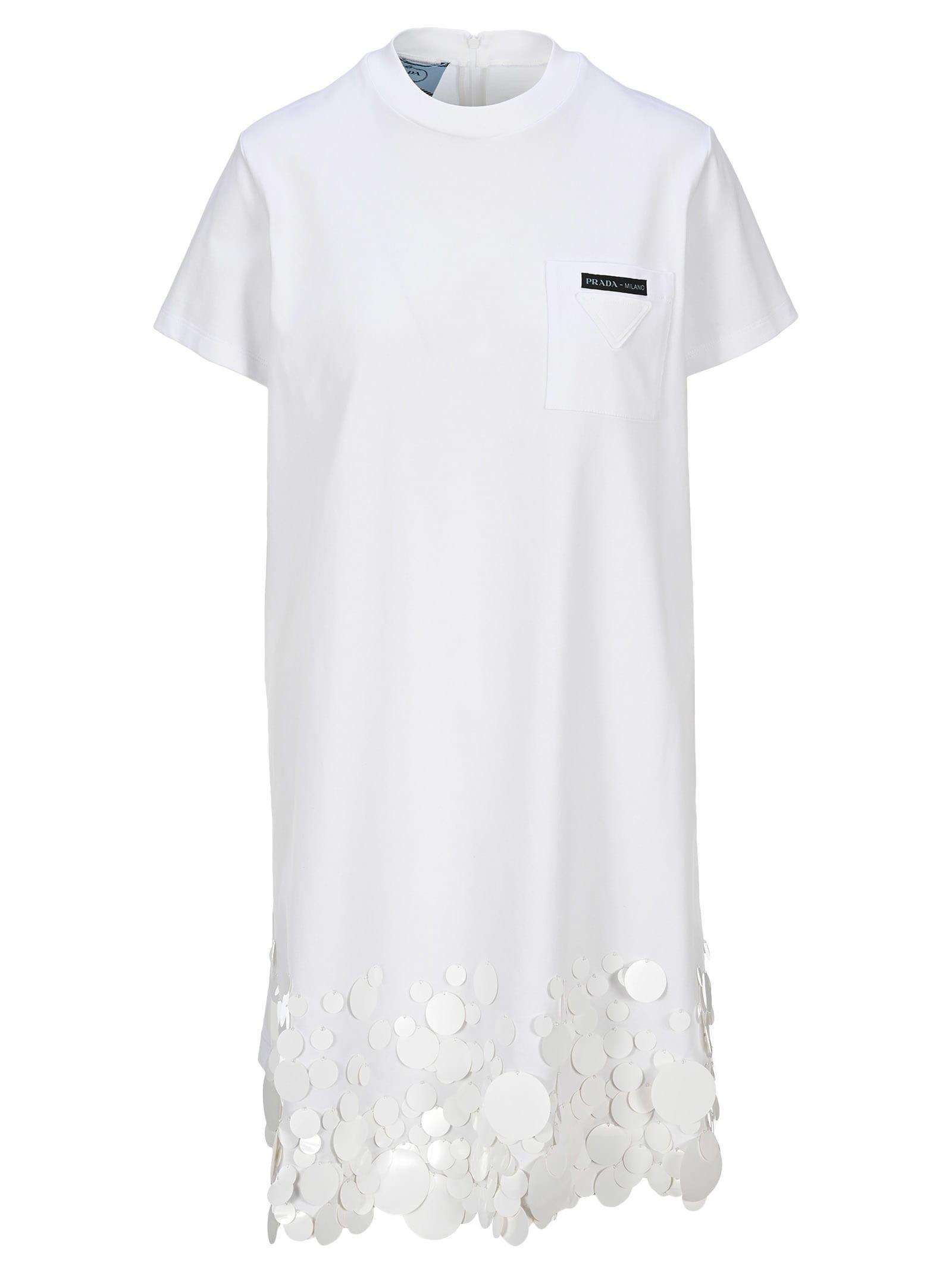 Buy Prada Embellished T-shirt Dress online, shop Prada with free shipping
