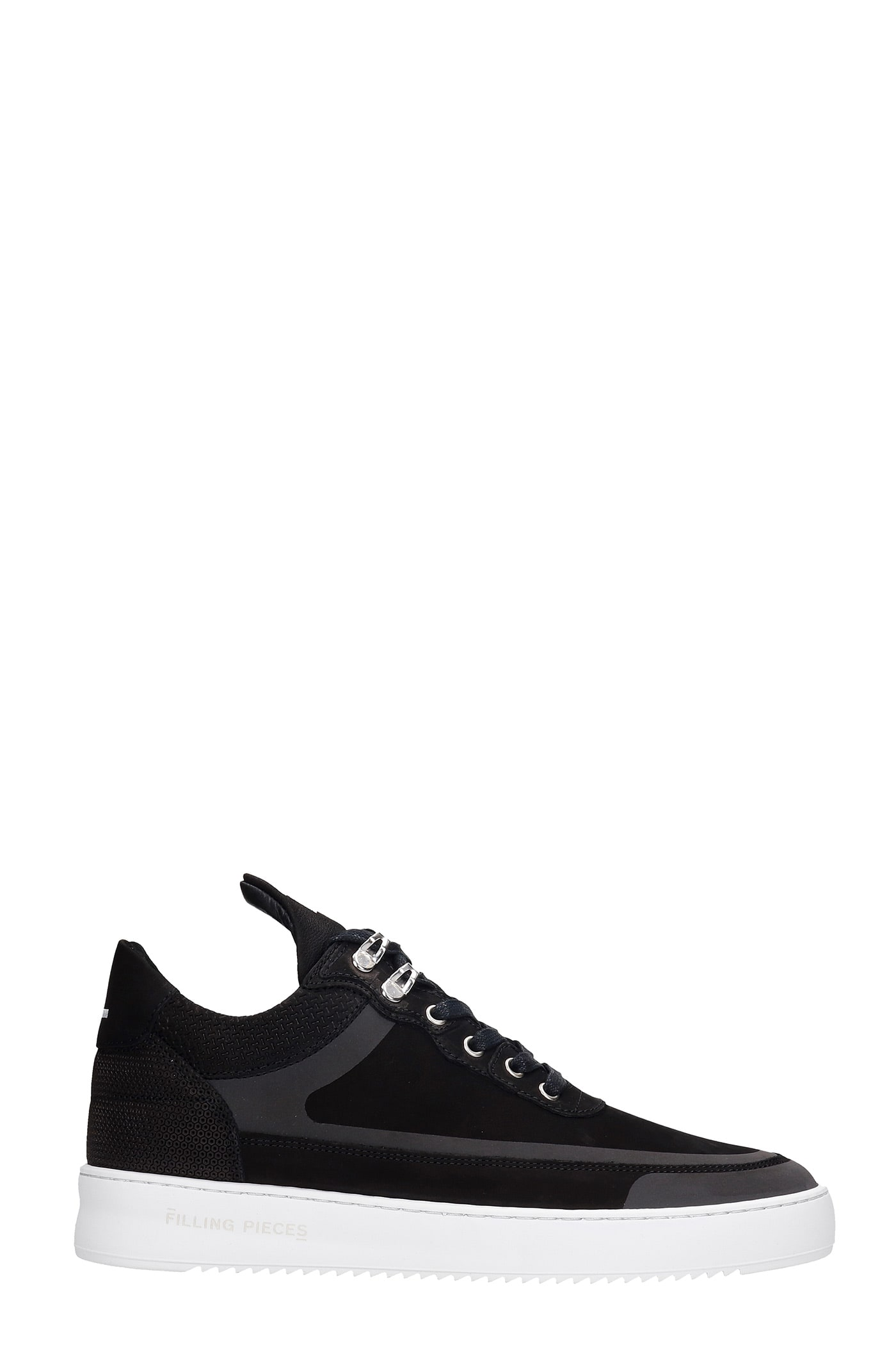 Low Top Ripple Sneakers In Black Leather And Fabric