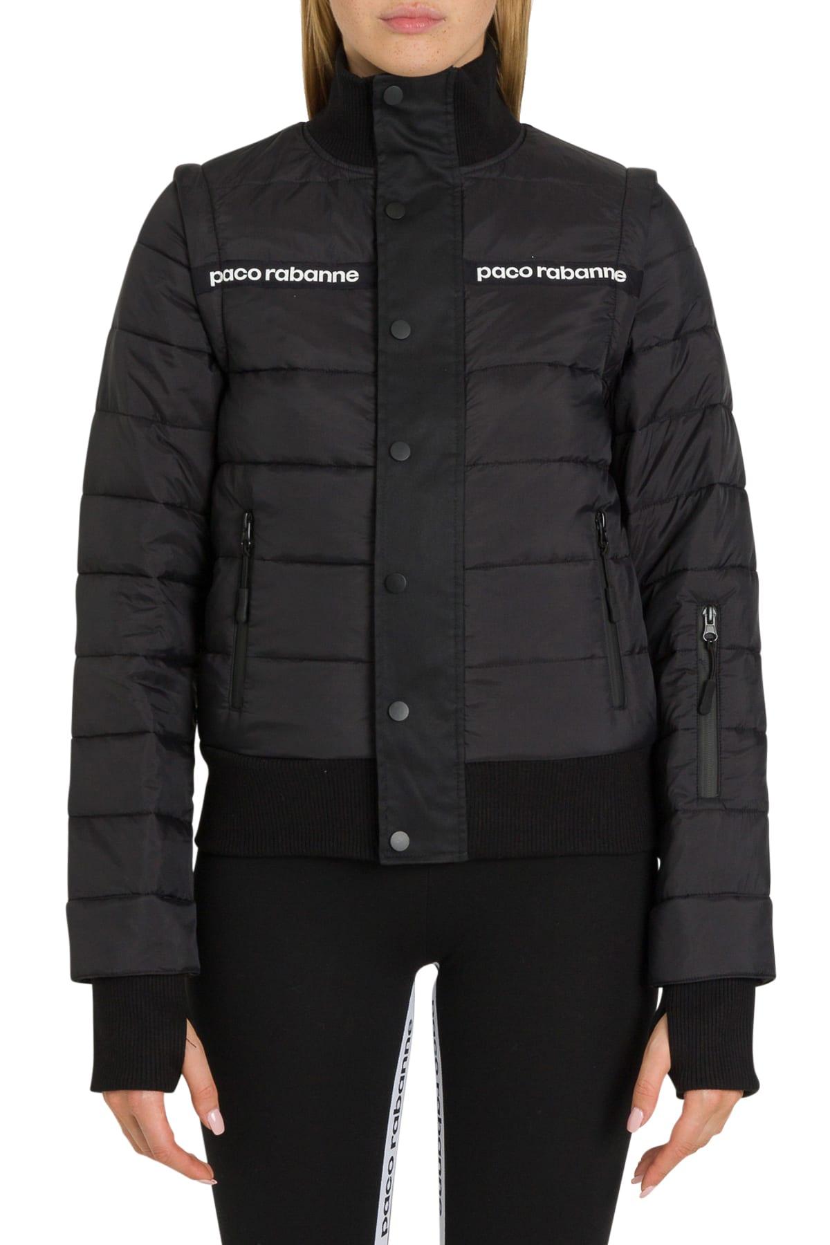 Paco Rabanne Font Logo Taping Puffer Jacket