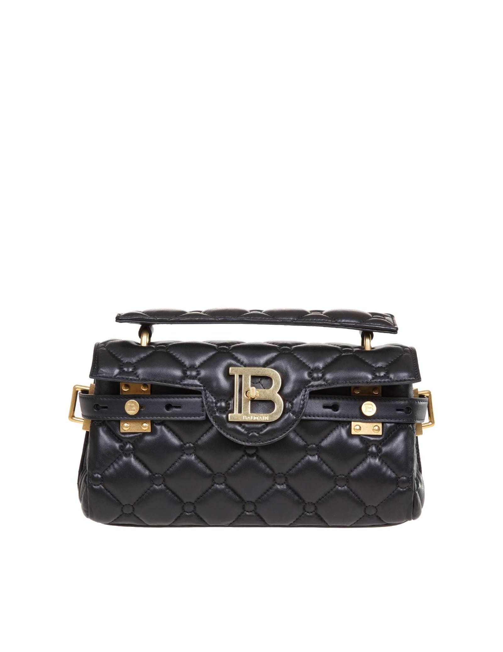 BALMAIN BBUZZ BAGUETTE B-BUZZ 26 IN BLACK QUILTED LEATHER