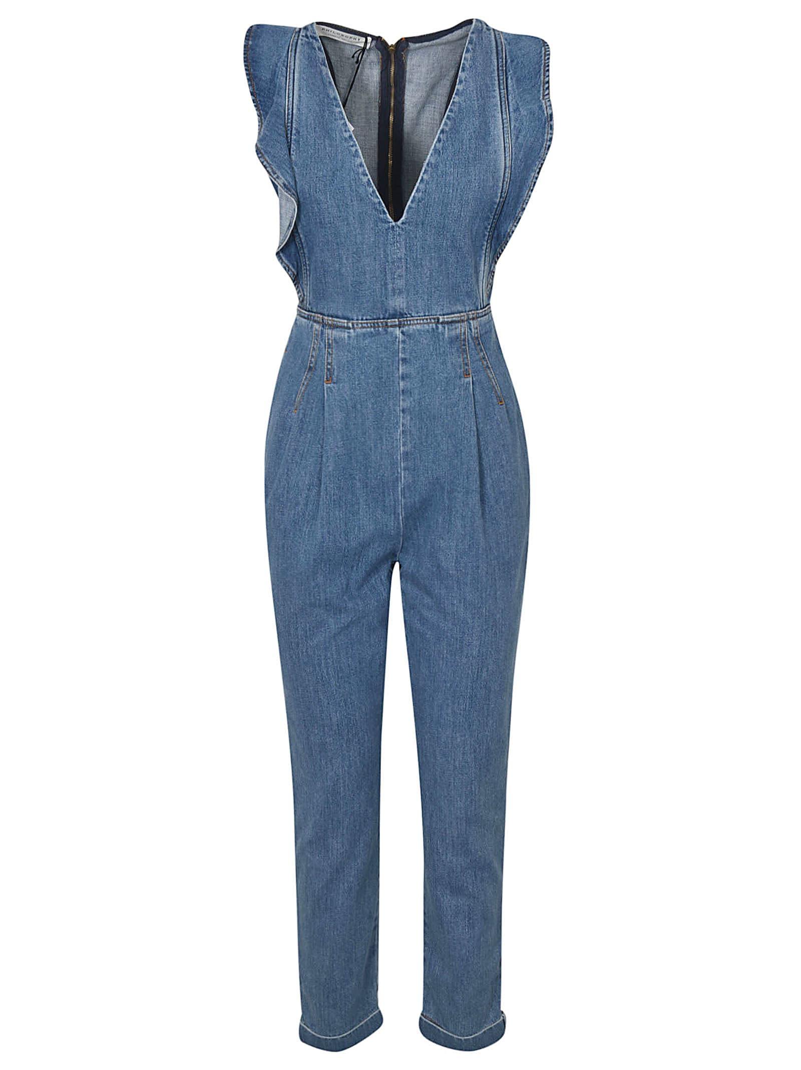 Buy Philosophy di Lorenzo Serafini V-neck Denim Dress online, shop Philosophy di Lorenzo Serafini with free shipping
