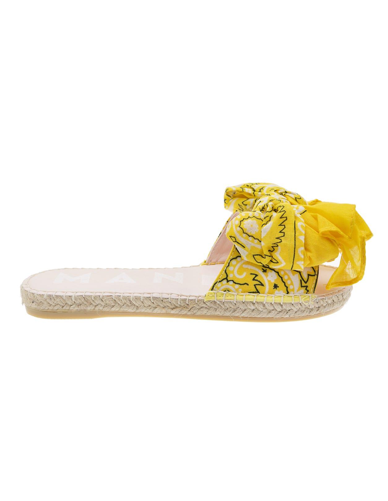 Bandana Flat Sandals With Bow Yellow