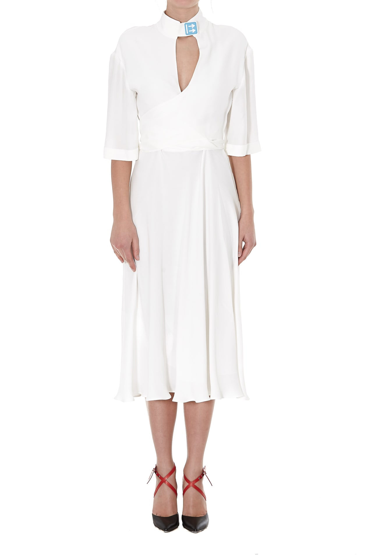 Buy Off-white Romantic Crepe Dress online, shop Off-White with free shipping