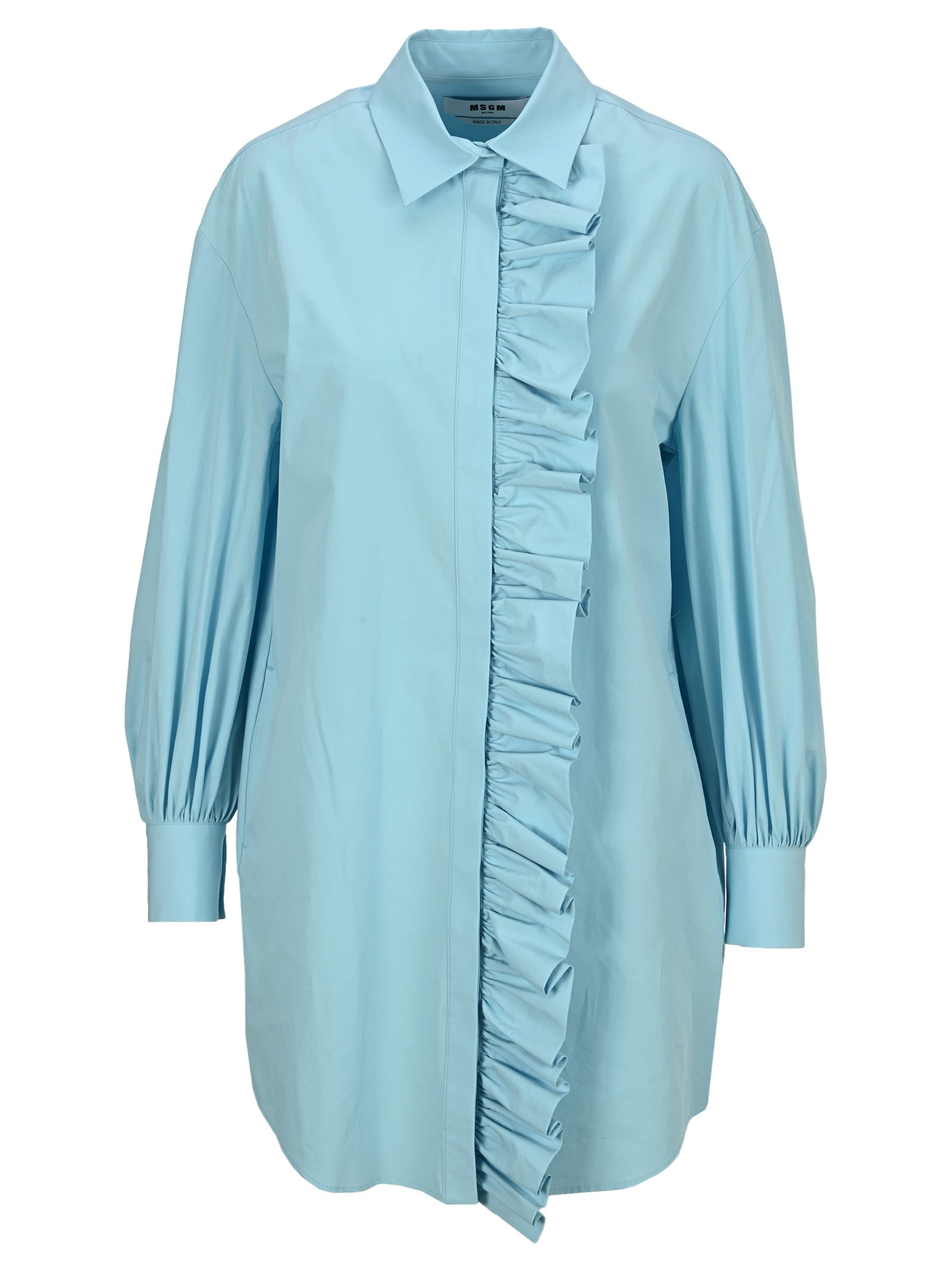 Buy Msgm Dress In Poplin With Ruffles online, shop MSGM with free shipping