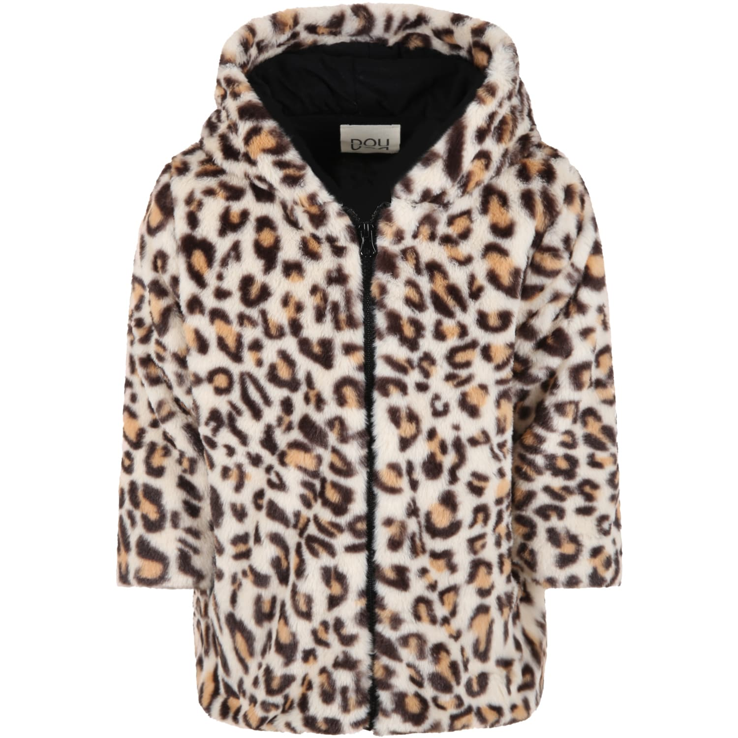 Beige Coat For Girl With Animalier Details