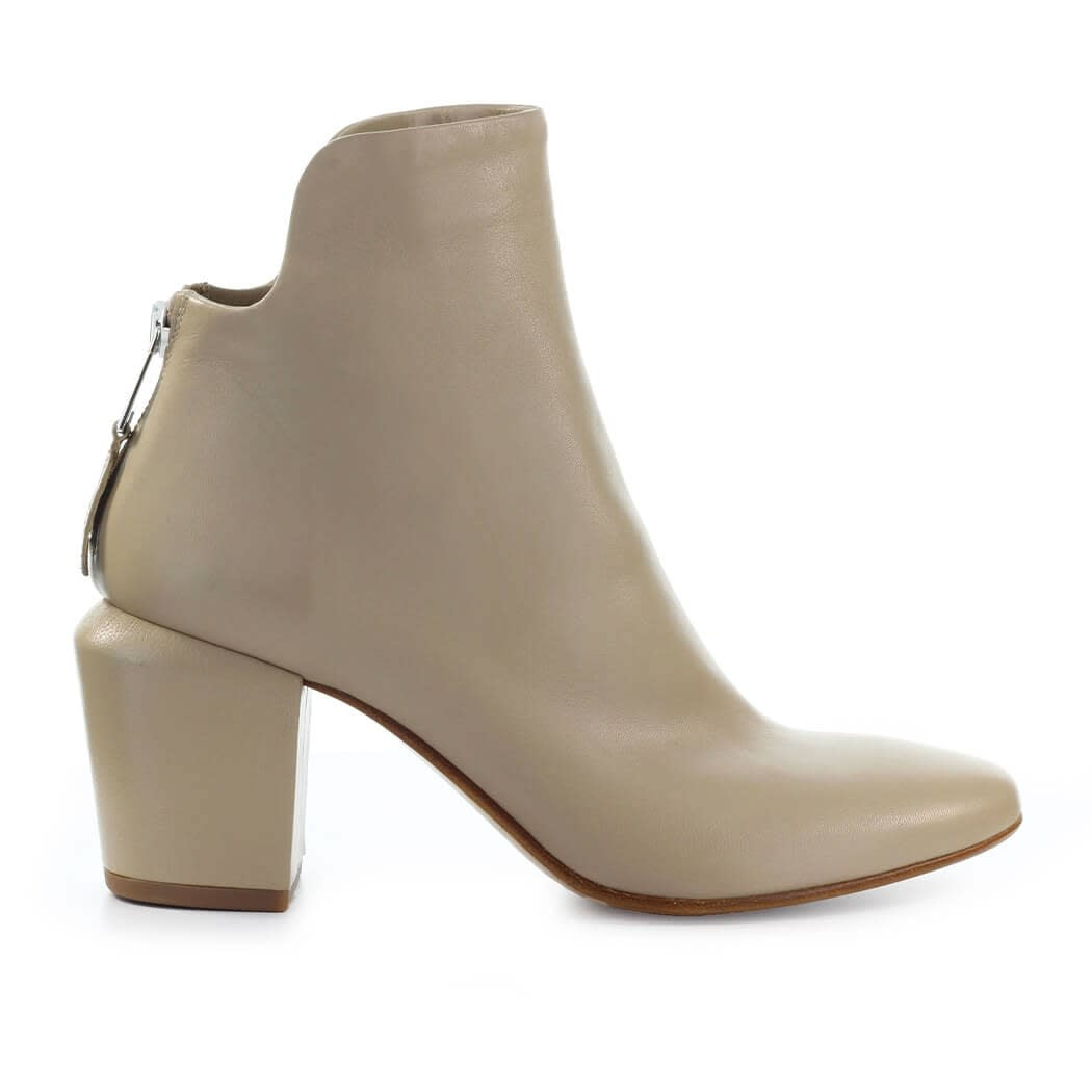 Beige Leather Ankle Boot