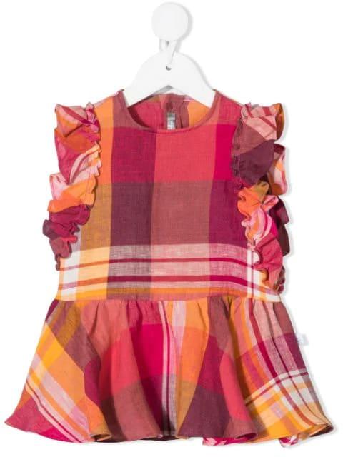 Il Gufo Linens NEWBORN RED AND ORANGE MADRAS LINEN DRESS